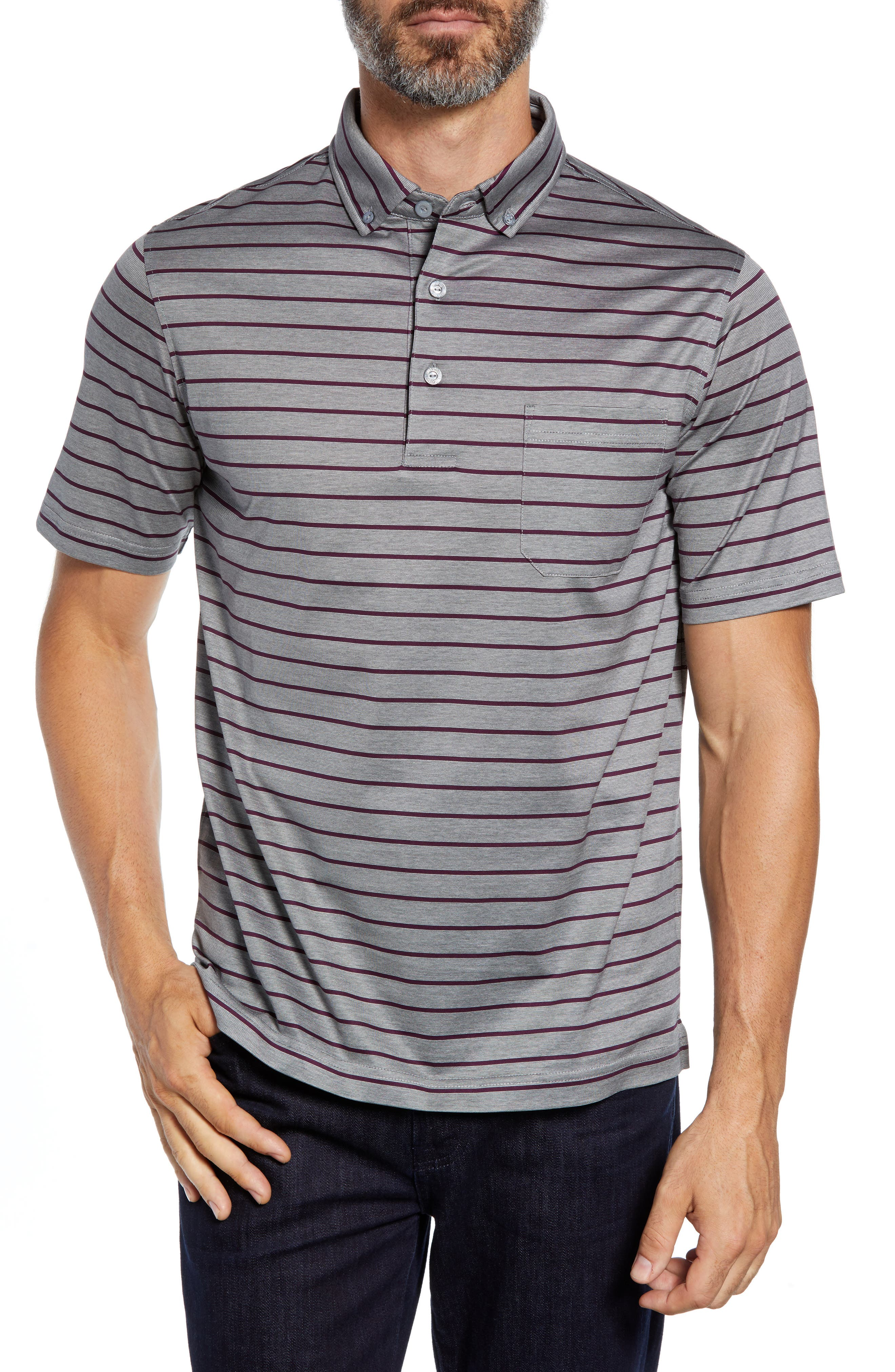 Stripe Knit Polo,                         Main,                         color, PLATINUM