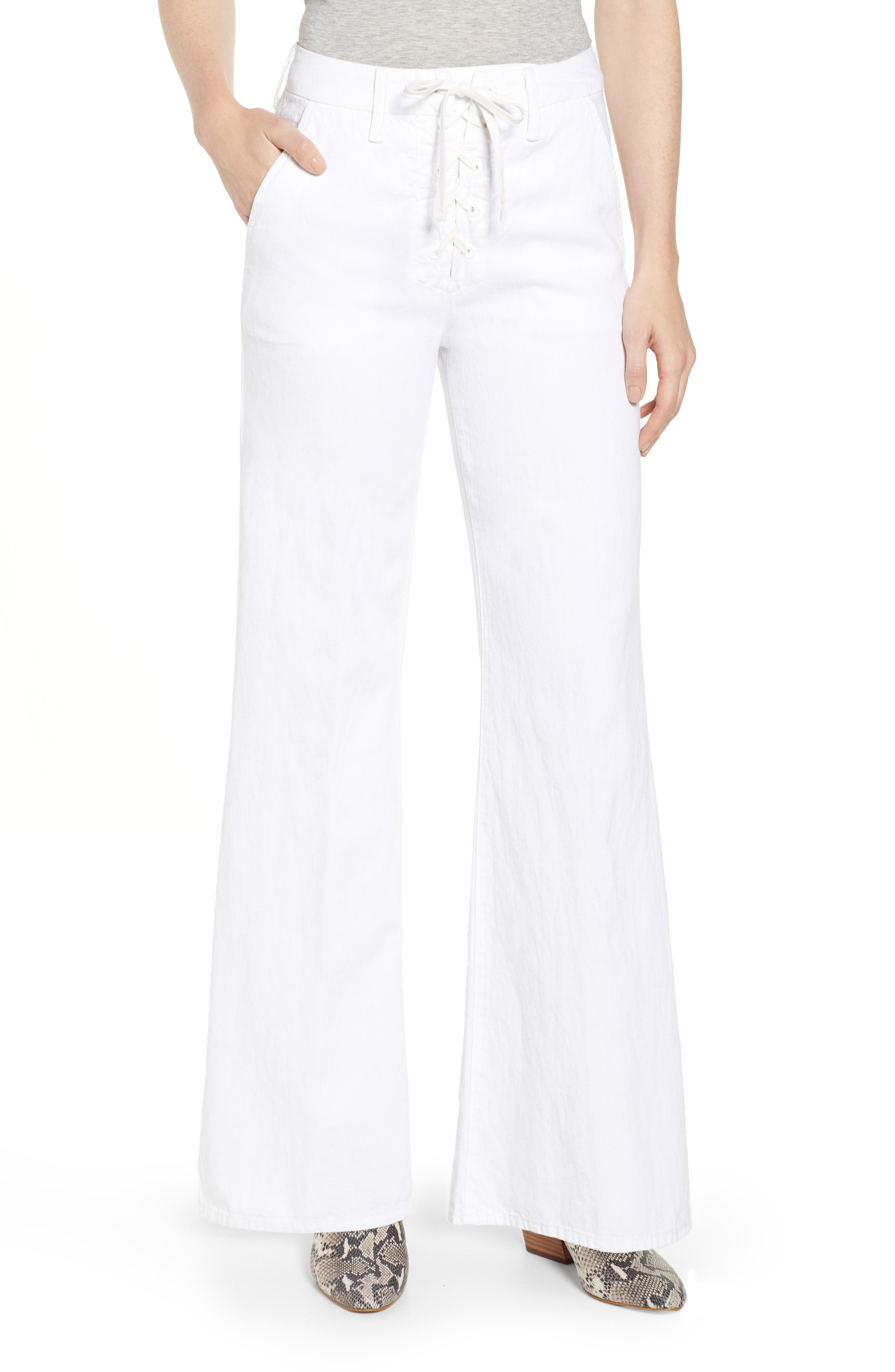 MOTHER,                             The Tie-Up Roller Wide Leg Twill Pants,                             Main thumbnail 1, color,                             RETURN TO THE ISLAND