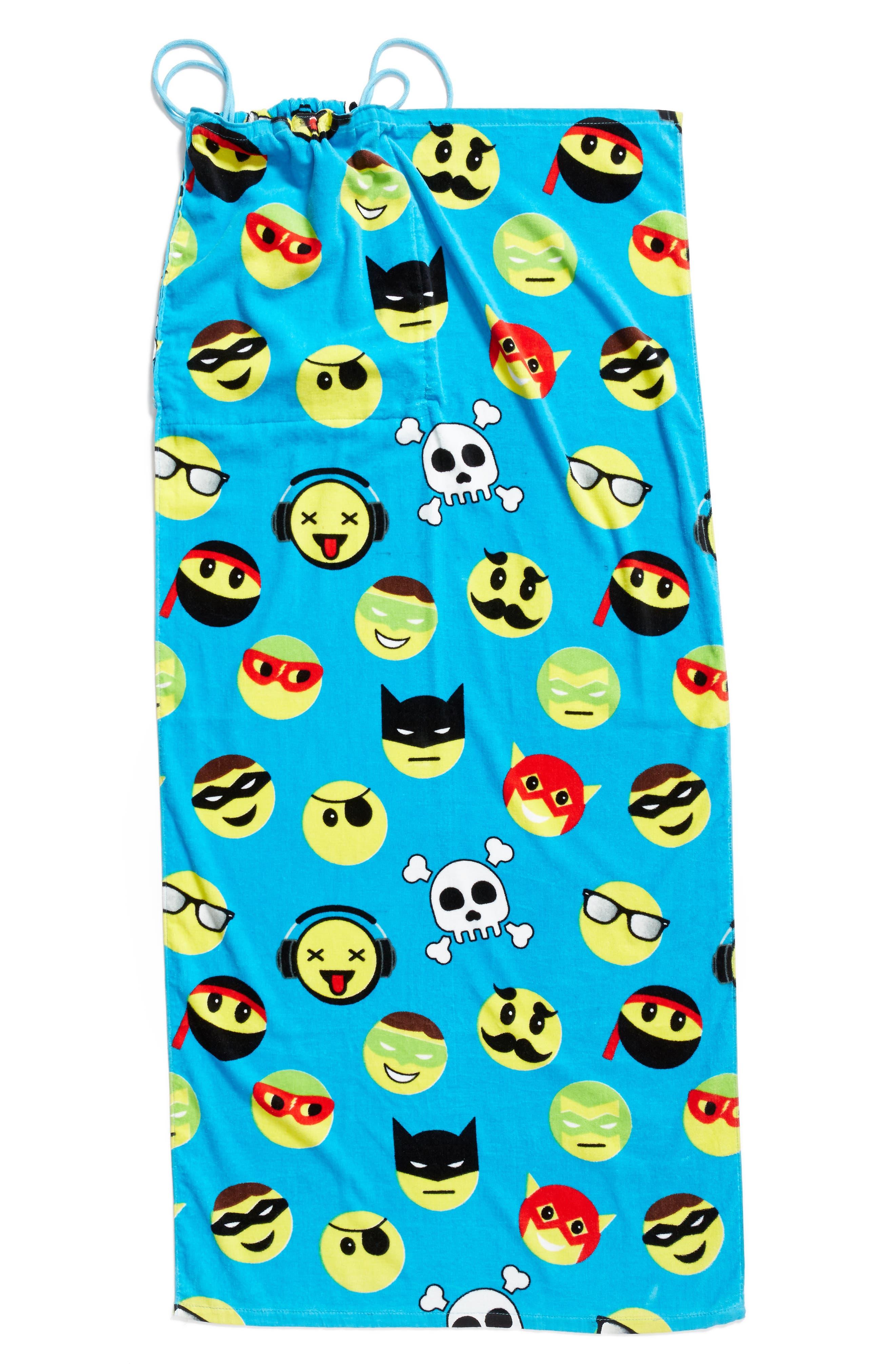 Emoji Towel Drawstring Bag,                             Alternate thumbnail 4, color,                             401
