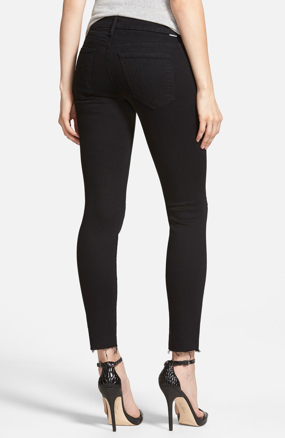 MOTHER,                             'The Looker' Frayed Ankle Skinny Jeans,                             Alternate thumbnail 3, color,                             GUILTY AS SIN