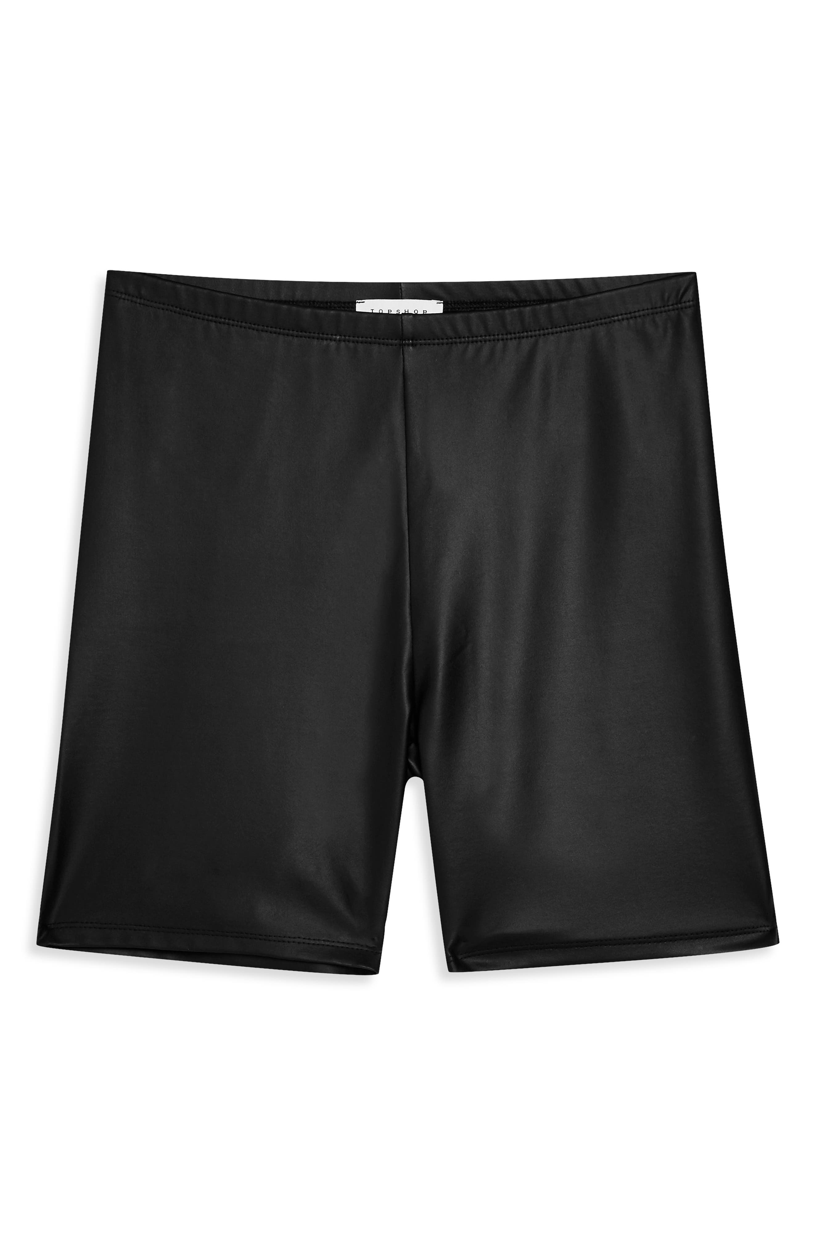 TOPSHOP,                             Faux Leather Cycling Shorts,                             Alternate thumbnail 3, color,                             BLACK