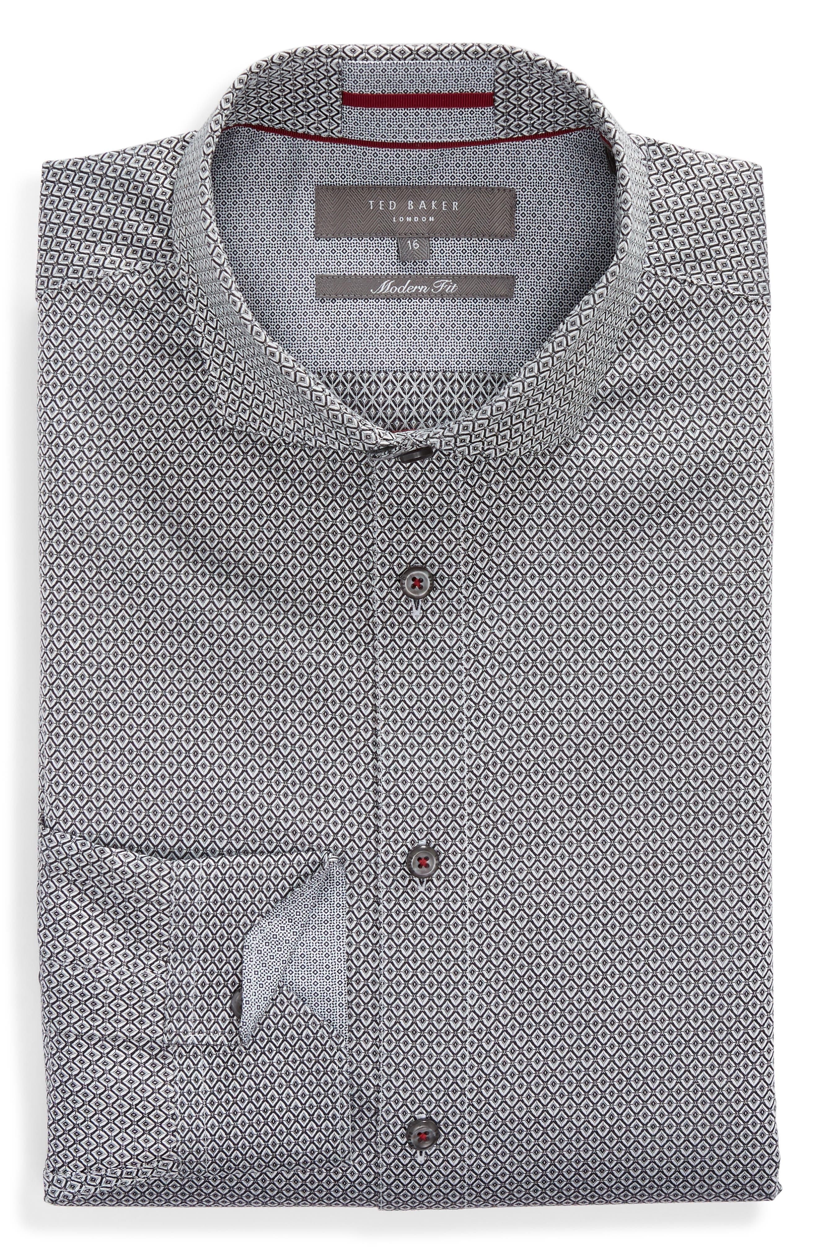 Brocco Modern Fit Geometric Dress Shirt,                             Alternate thumbnail 5, color,                             BLACK