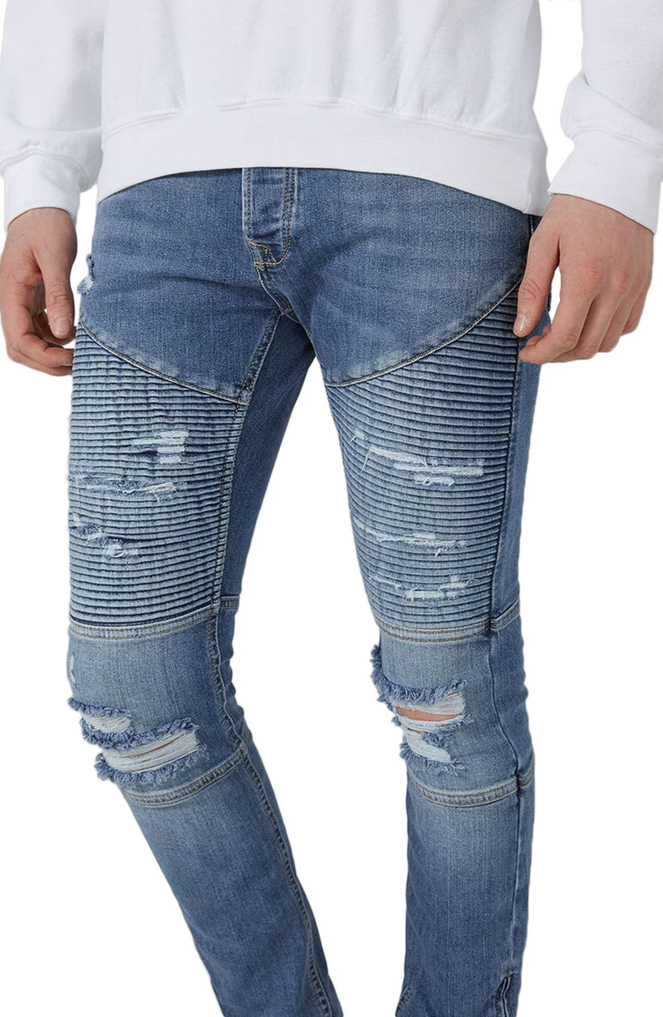 Ripped Zip Skinny Biker Jeans,                             Alternate thumbnail 3, color,                             400