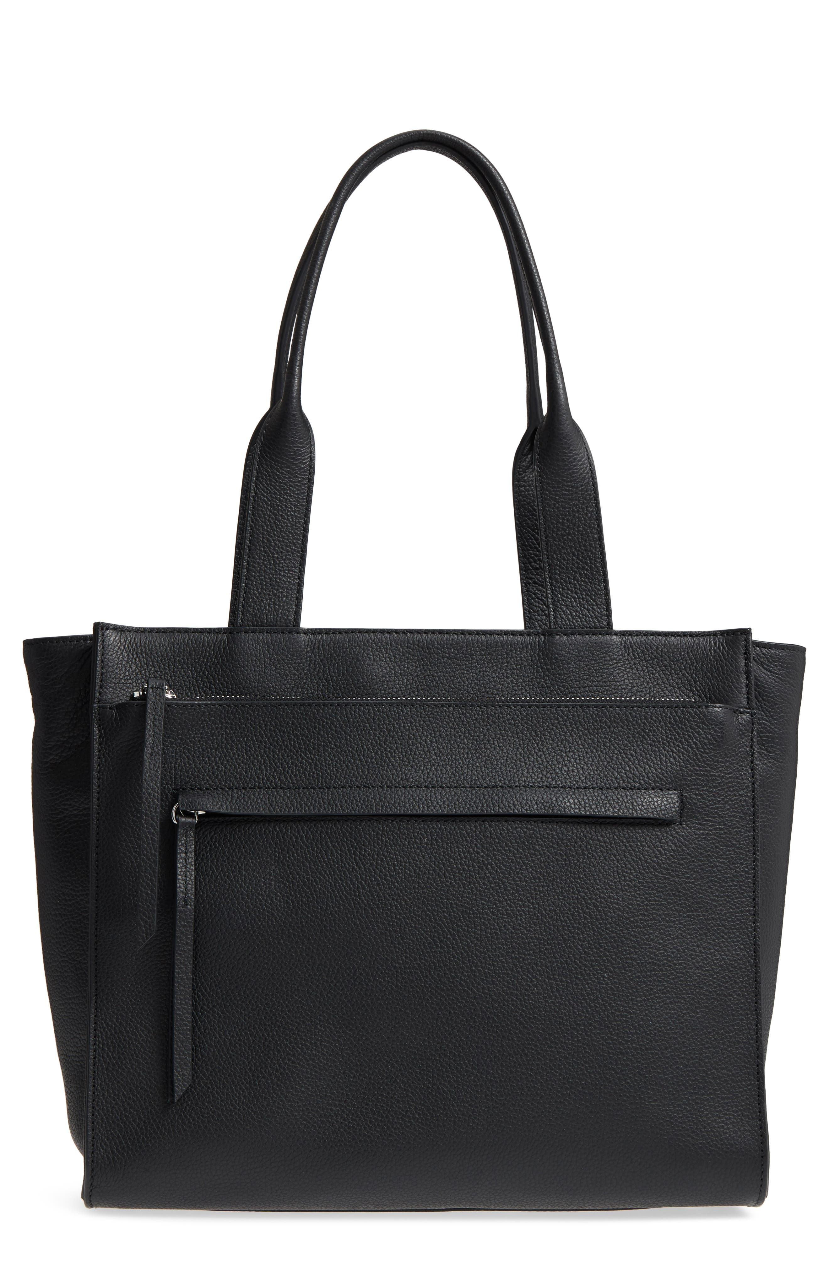 Finn Pebbled Leather Tote,                         Main,                         color, 001