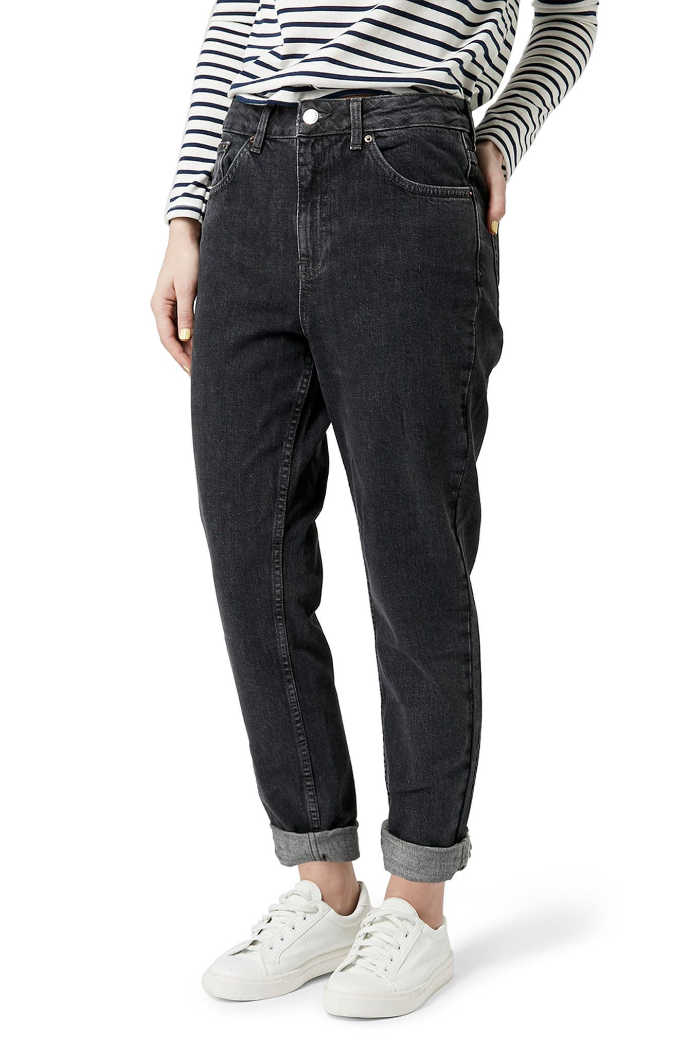 Mom Jeans,                         Main,                         color, WASHED BLACK