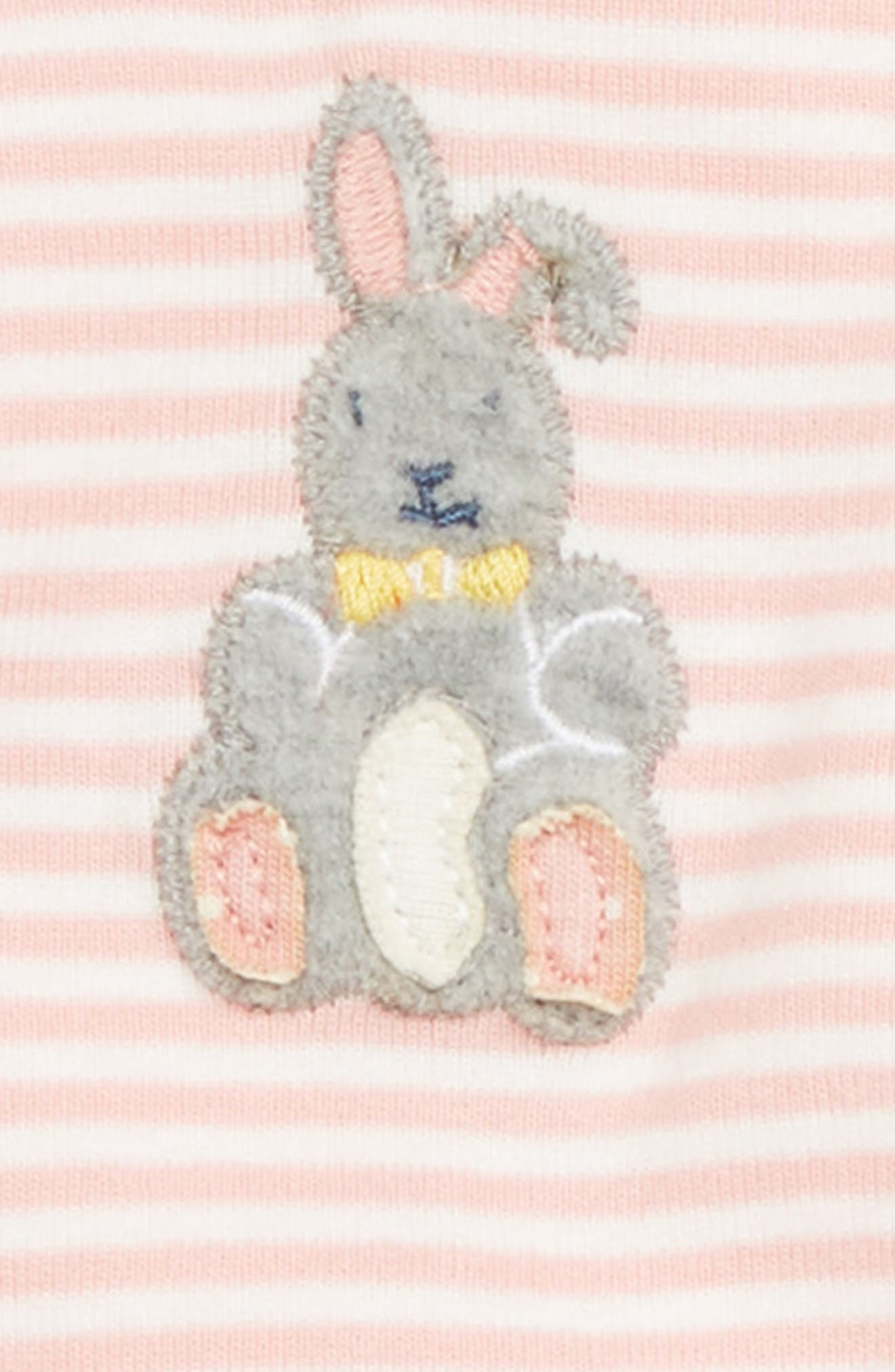 Organic Cotton Dunagree Footie,                             Alternate thumbnail 2, color,                             SHELL PINK/ IVORY BUNNY