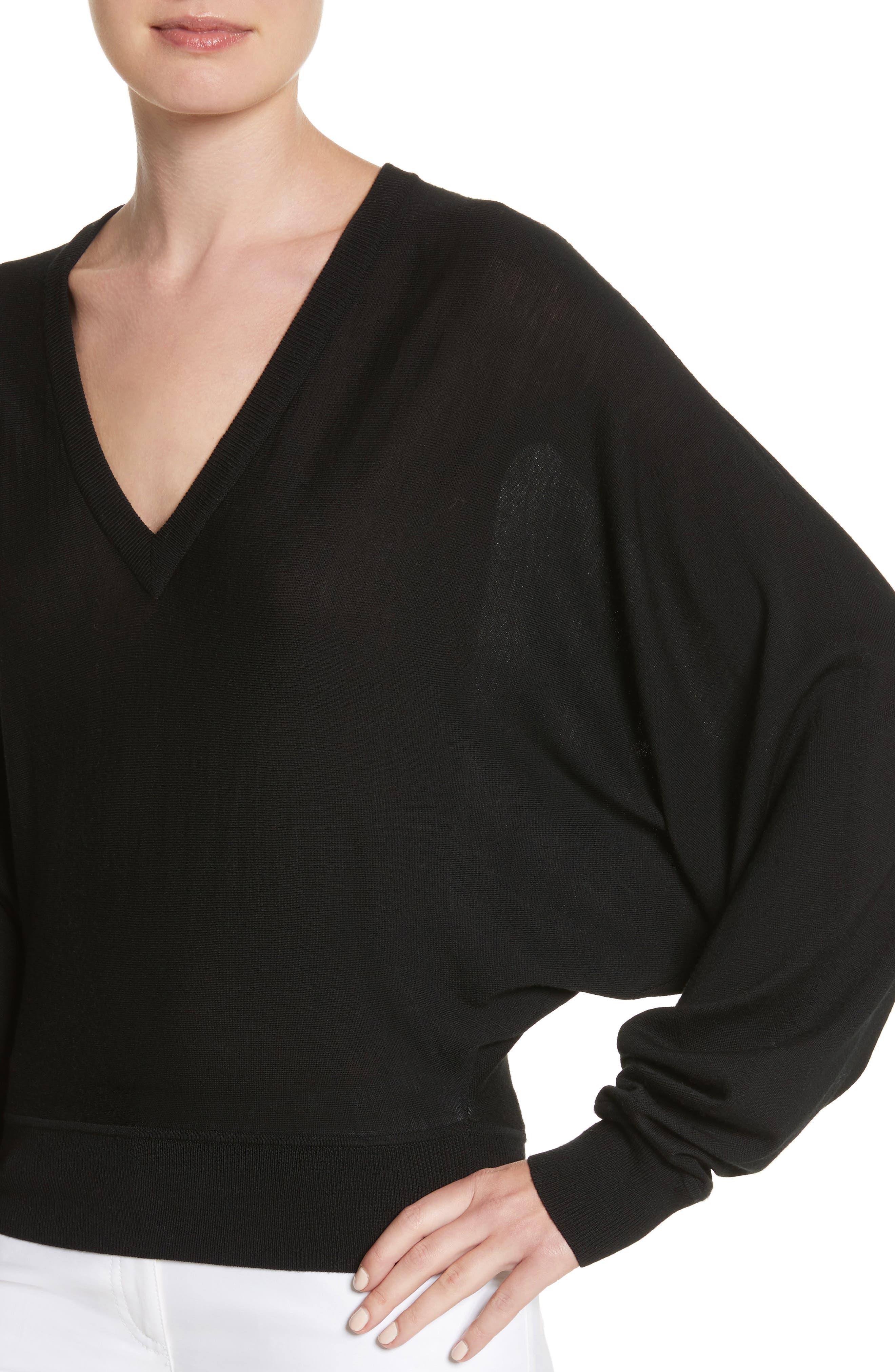 Merino Wool Blend Dolman Sweater,                             Alternate thumbnail 4, color,                             001
