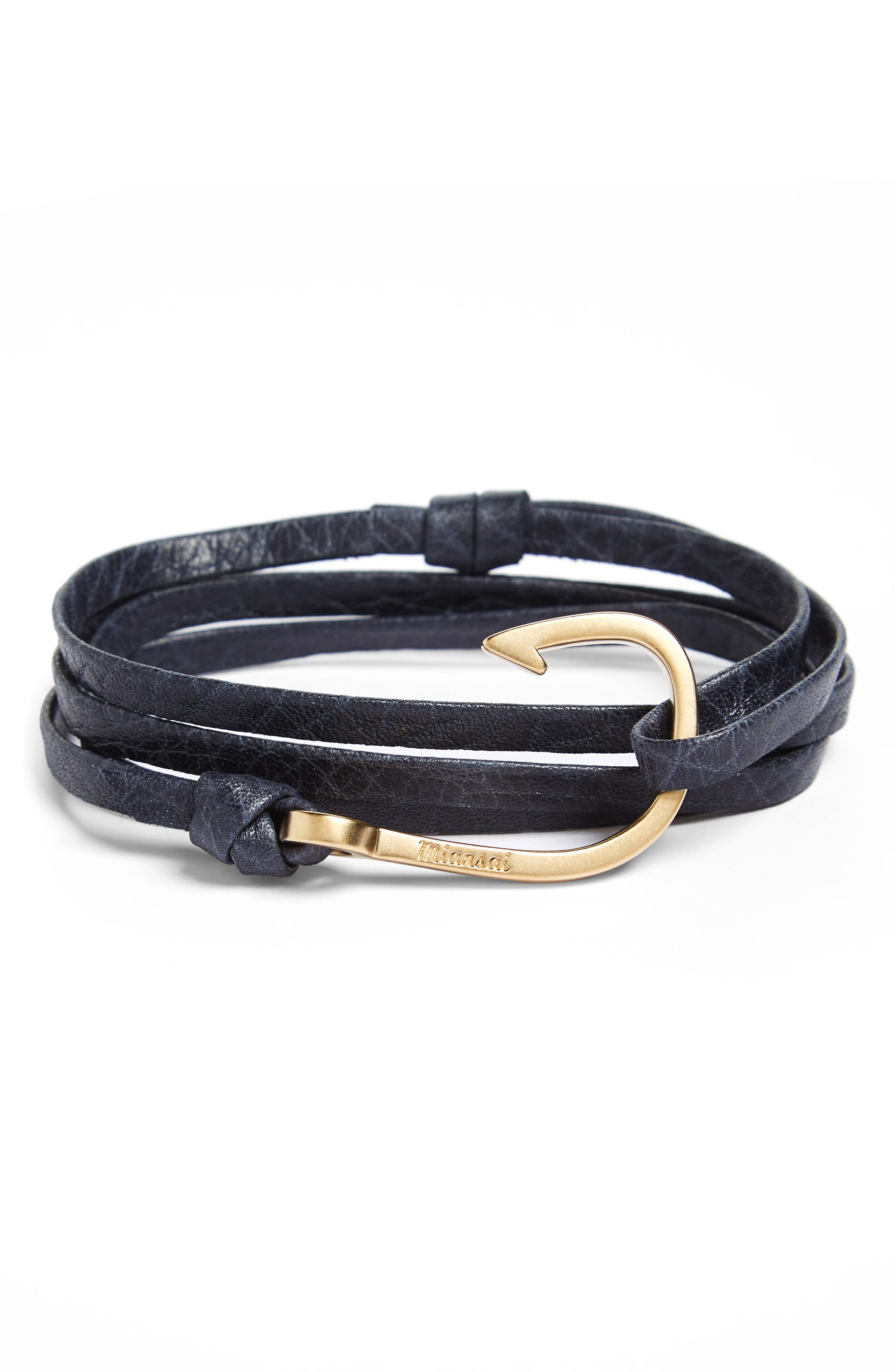 Hook On Leather Wrap Bracelet,                             Main thumbnail 2, color,