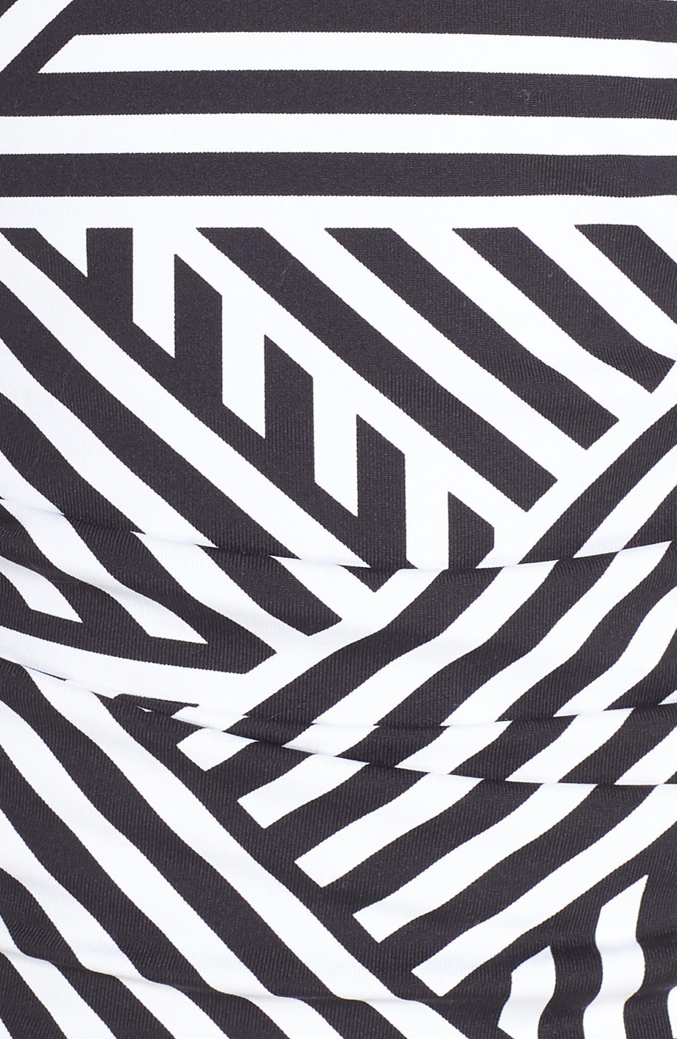 TOMMY BAHAMA,                             Fractured Stripe Tankini Top,                             Alternate thumbnail 5, color,                             BLACK/ WHITE
