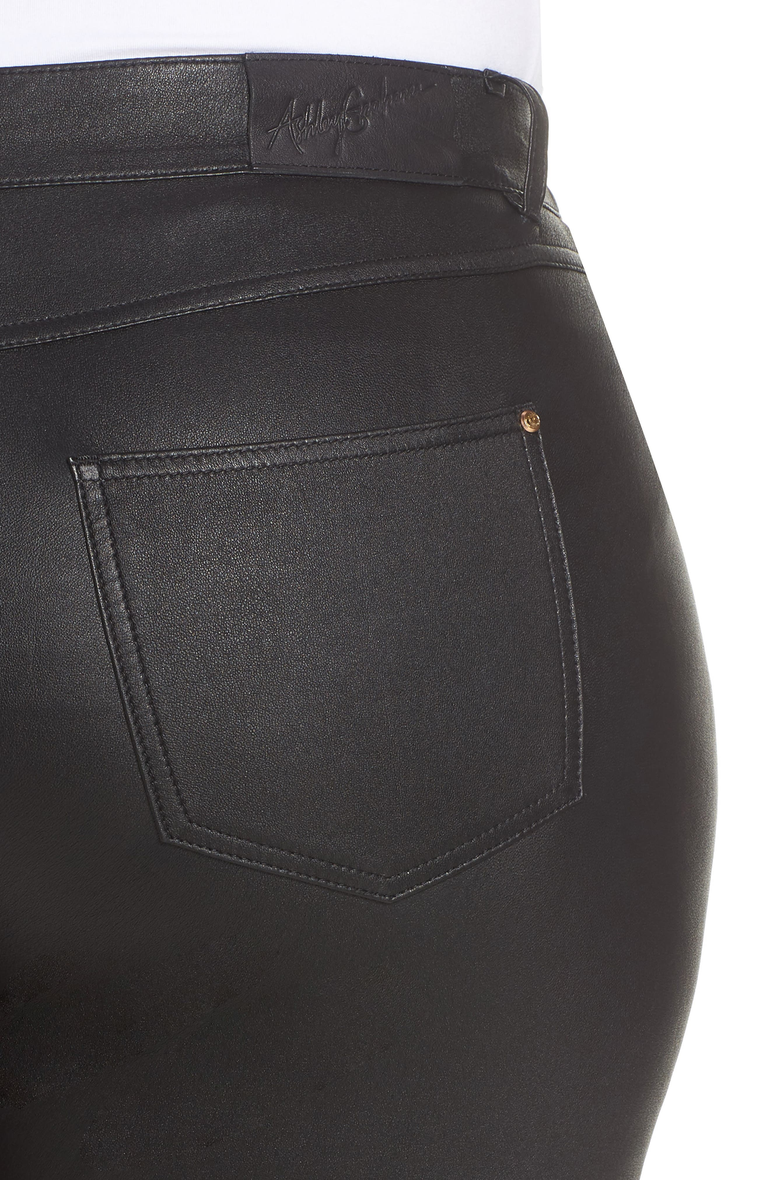 Eboli Leather Pants,                             Alternate thumbnail 4, color,                             001