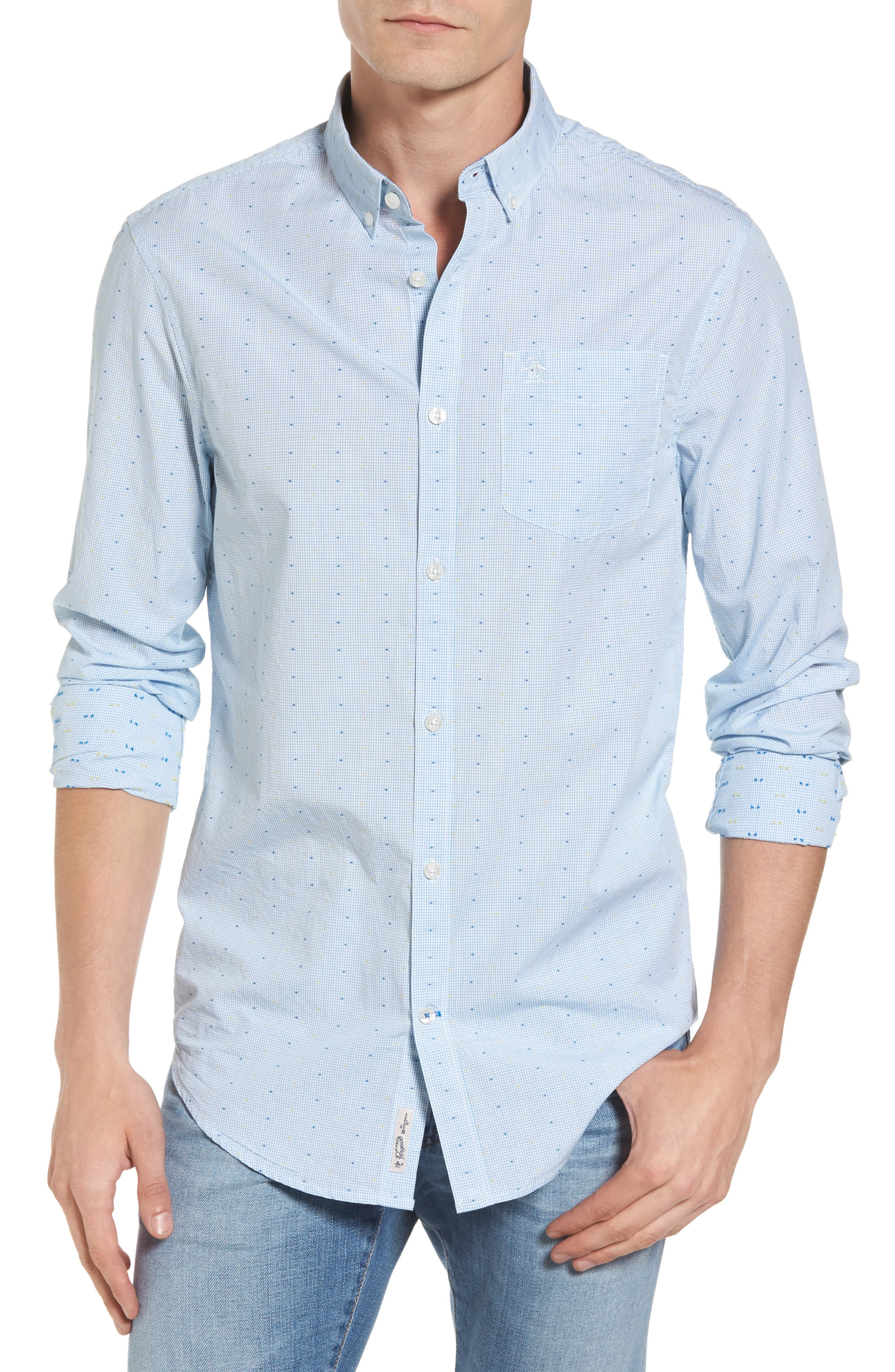 Clipped Dobby Woven Shirt,                         Main,                         color, 118