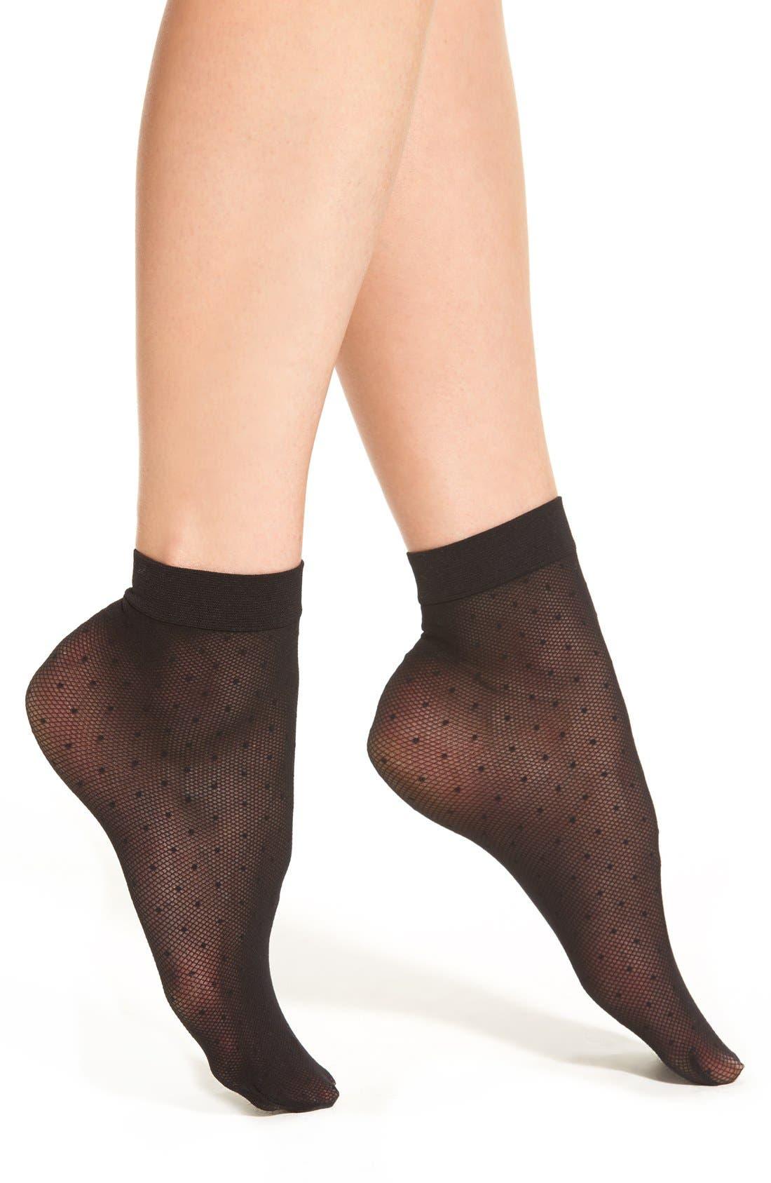 Sheer Dot Anklet Socks,                         Main,                         color, 001