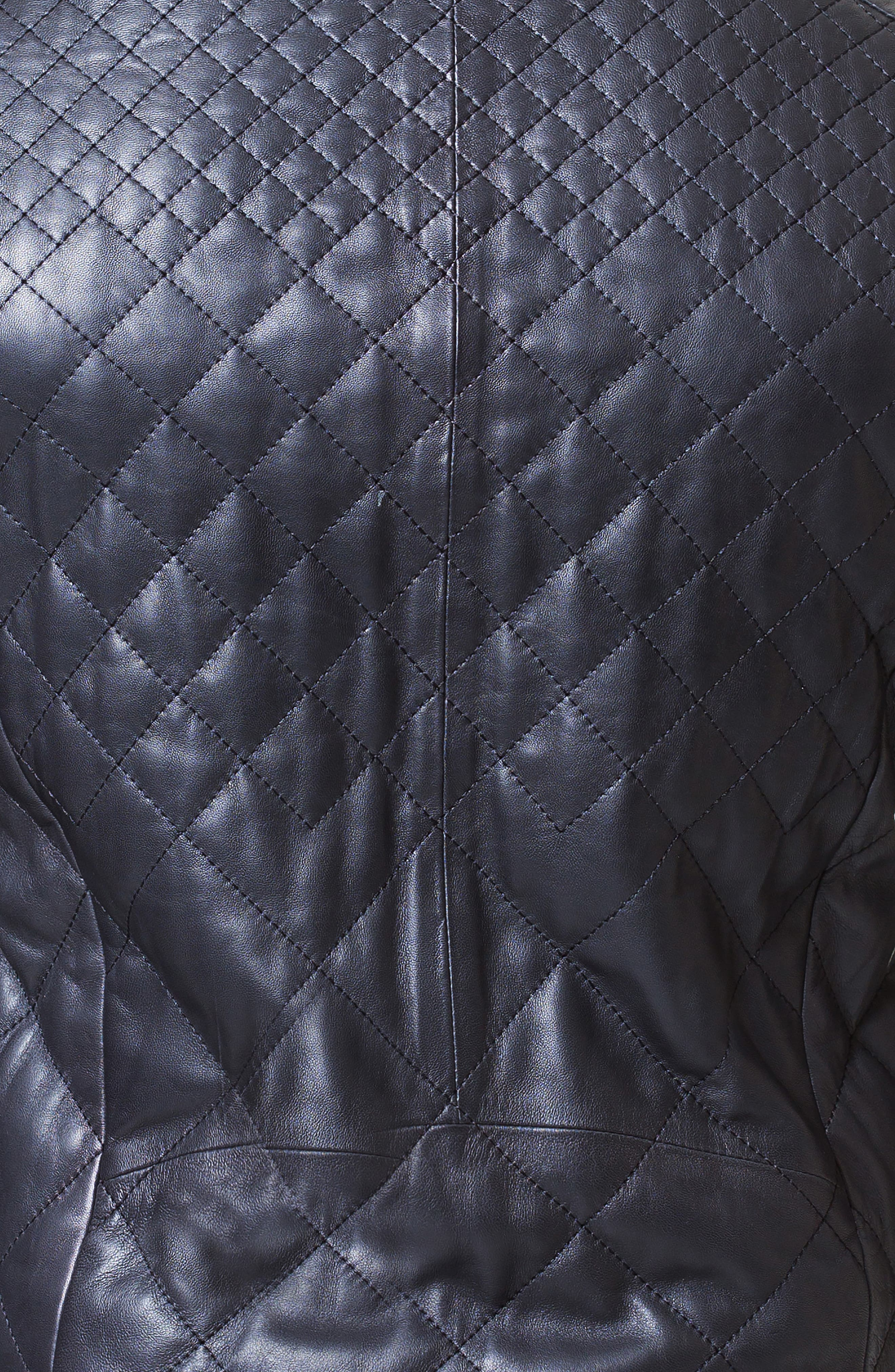 Quilted Leather Jacket,                             Alternate thumbnail 3, color,                             BLACK