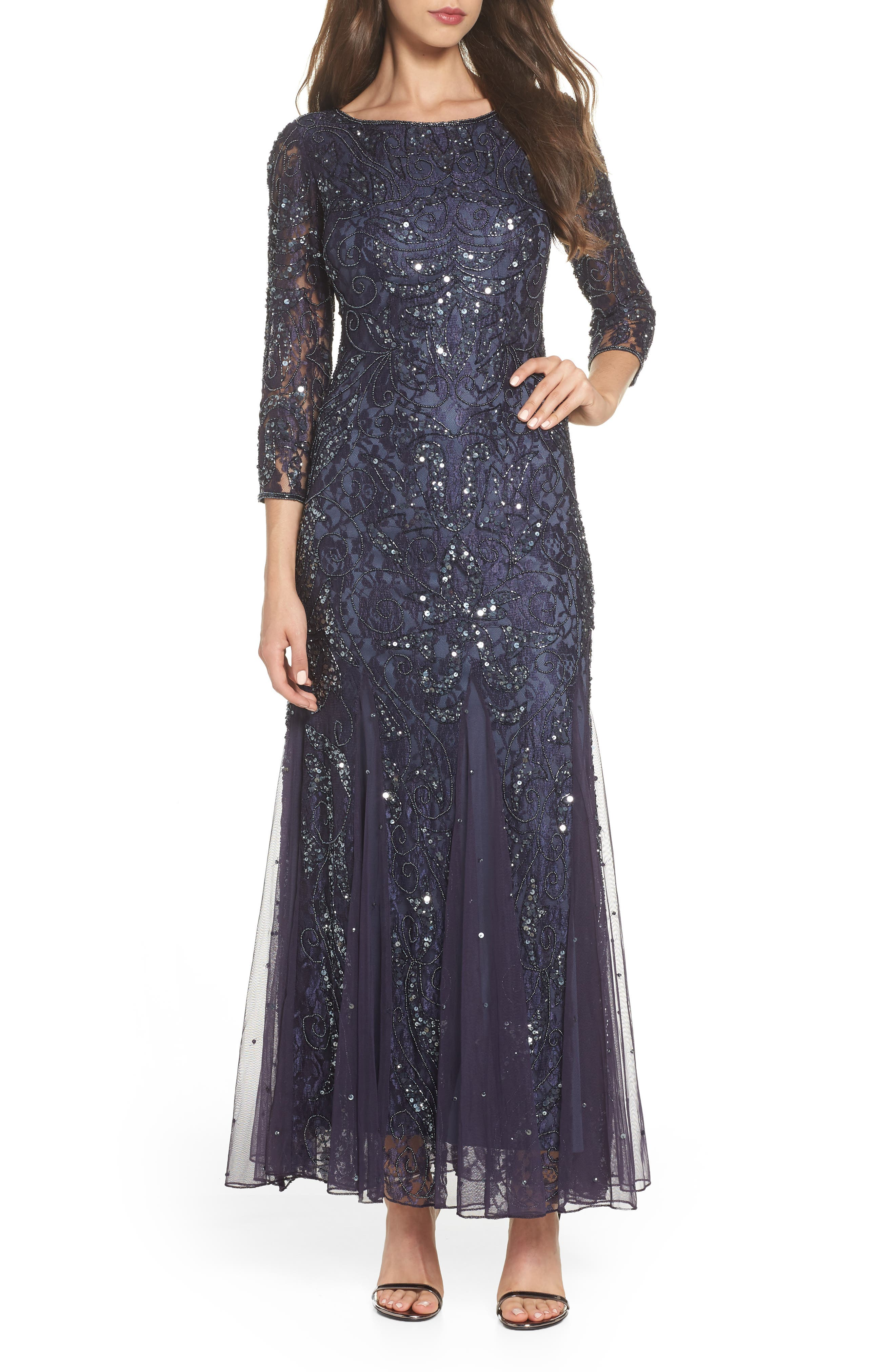 1920s Evening Dresses & Formal Gowns Pisarro Nights Beaded Lace Gown Size 2P - Grey $218.00 AT vintagedancer.com