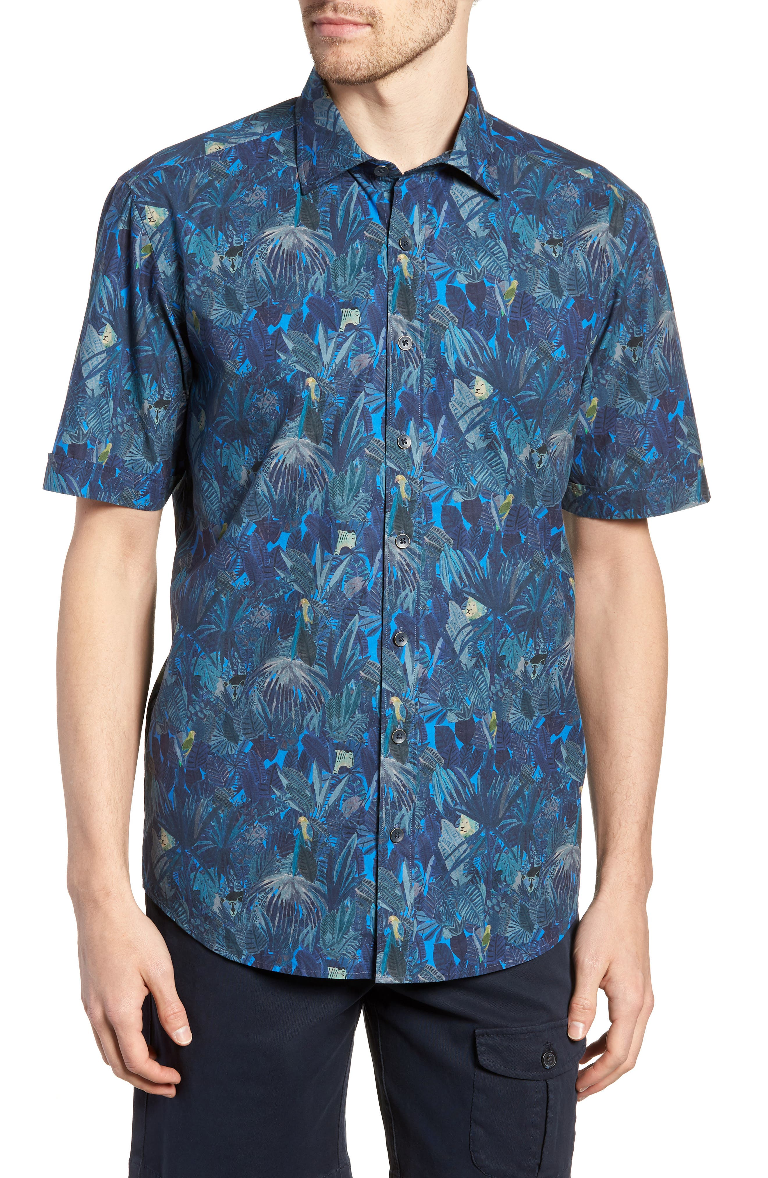Chedworth Slim Fit Print Sport Shirt,                             Main thumbnail 1, color,                             343