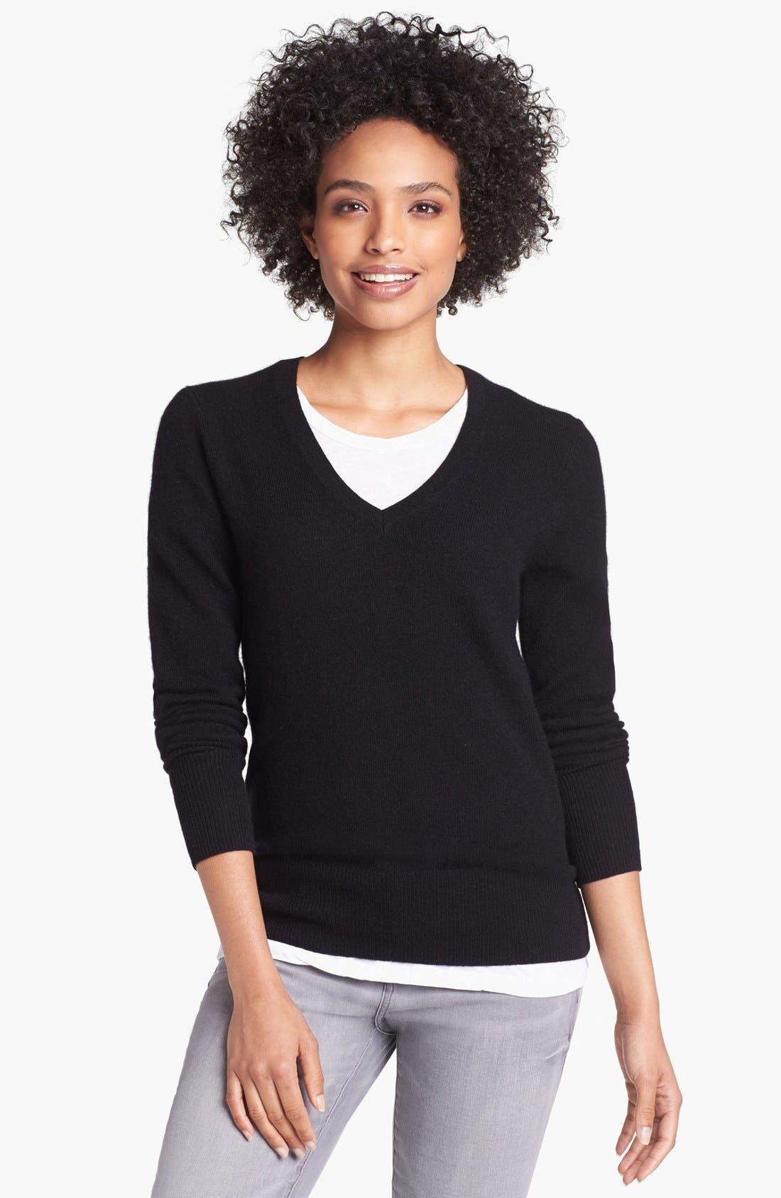 HALOGEN<SUP>®</SUP>,                             V-Neck Cashmere Sweater,                             Main thumbnail 1, color,                             001