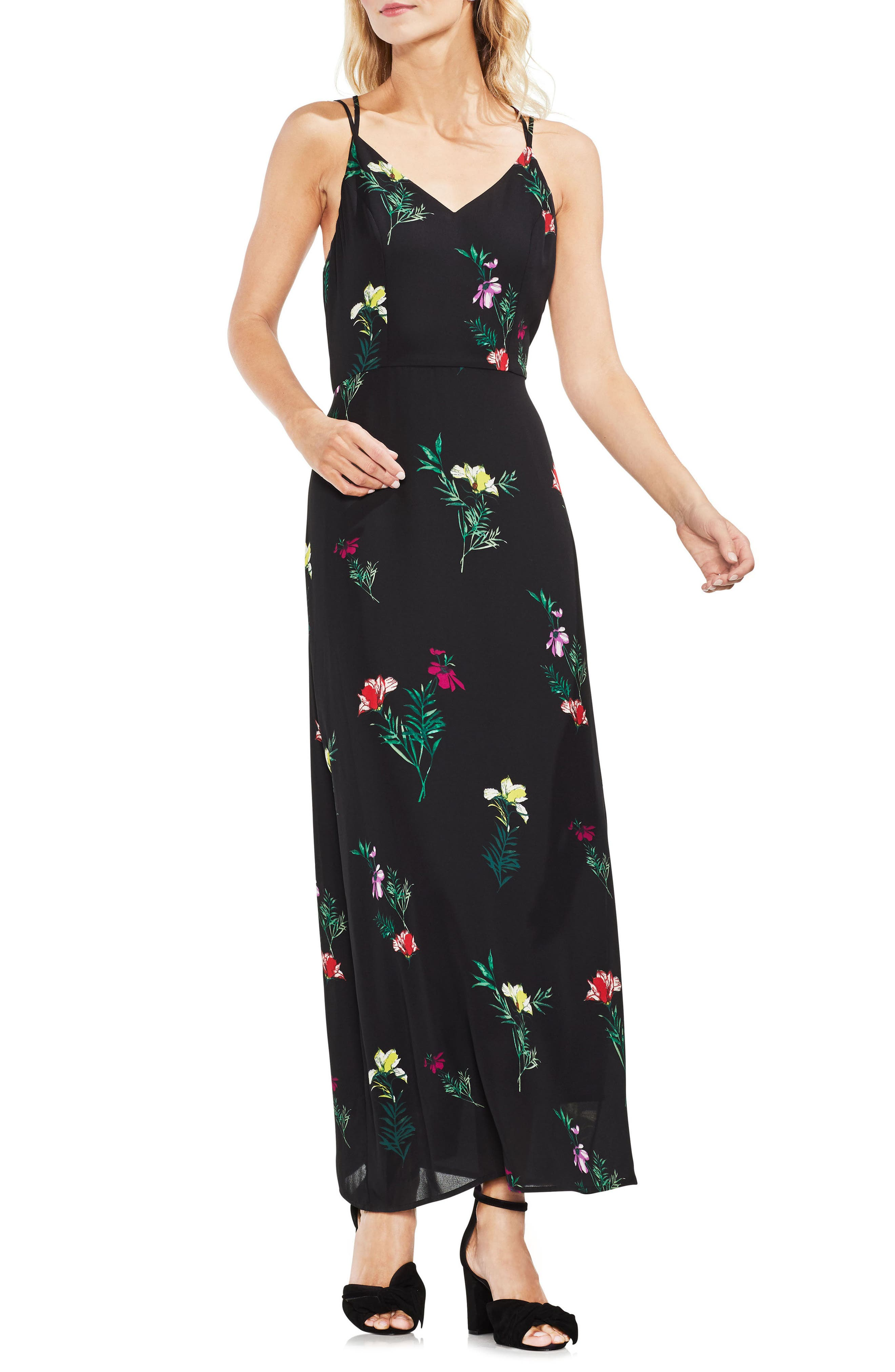 Tropical Garden Maxi Dress,                             Main thumbnail 1, color,                             001