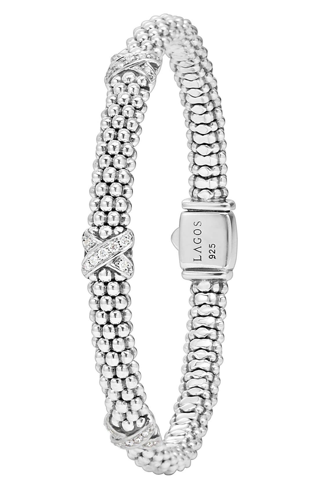 'Signature Caviar' Diamond Rope Bracelet,                             Alternate thumbnail 6, color,                             STERLING SILVER