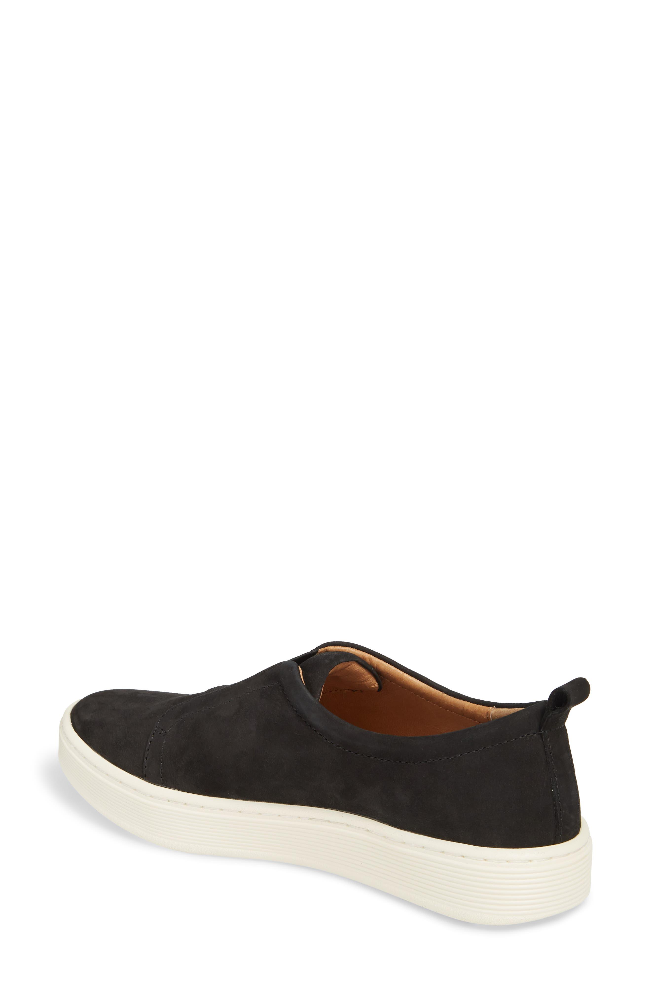 Safia Slip-On Sneaker,                             Alternate thumbnail 2, color,                             TRUE BLACK LEATHER