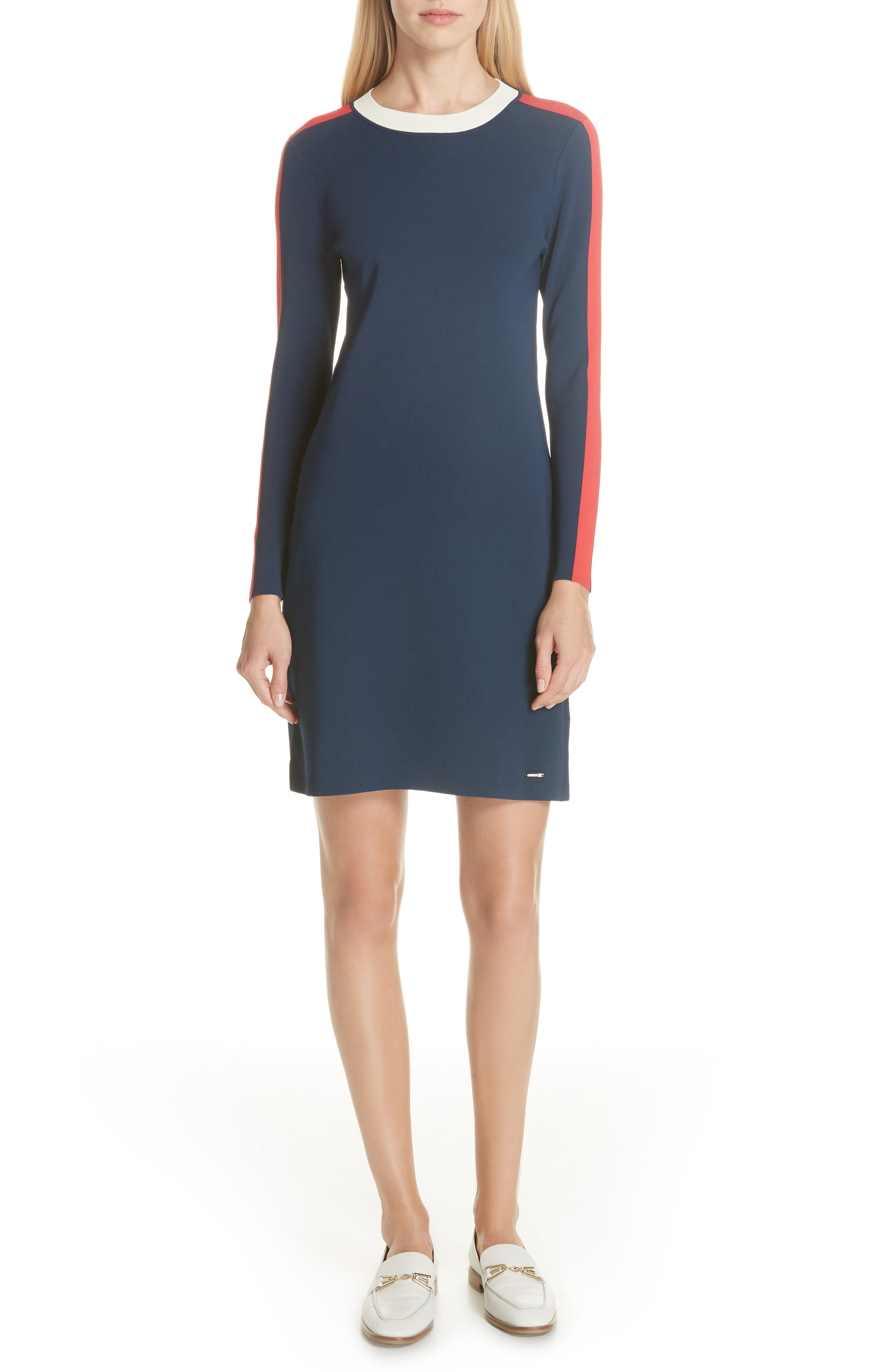Colour By Numbers Stripe Knit Dress in Navy
