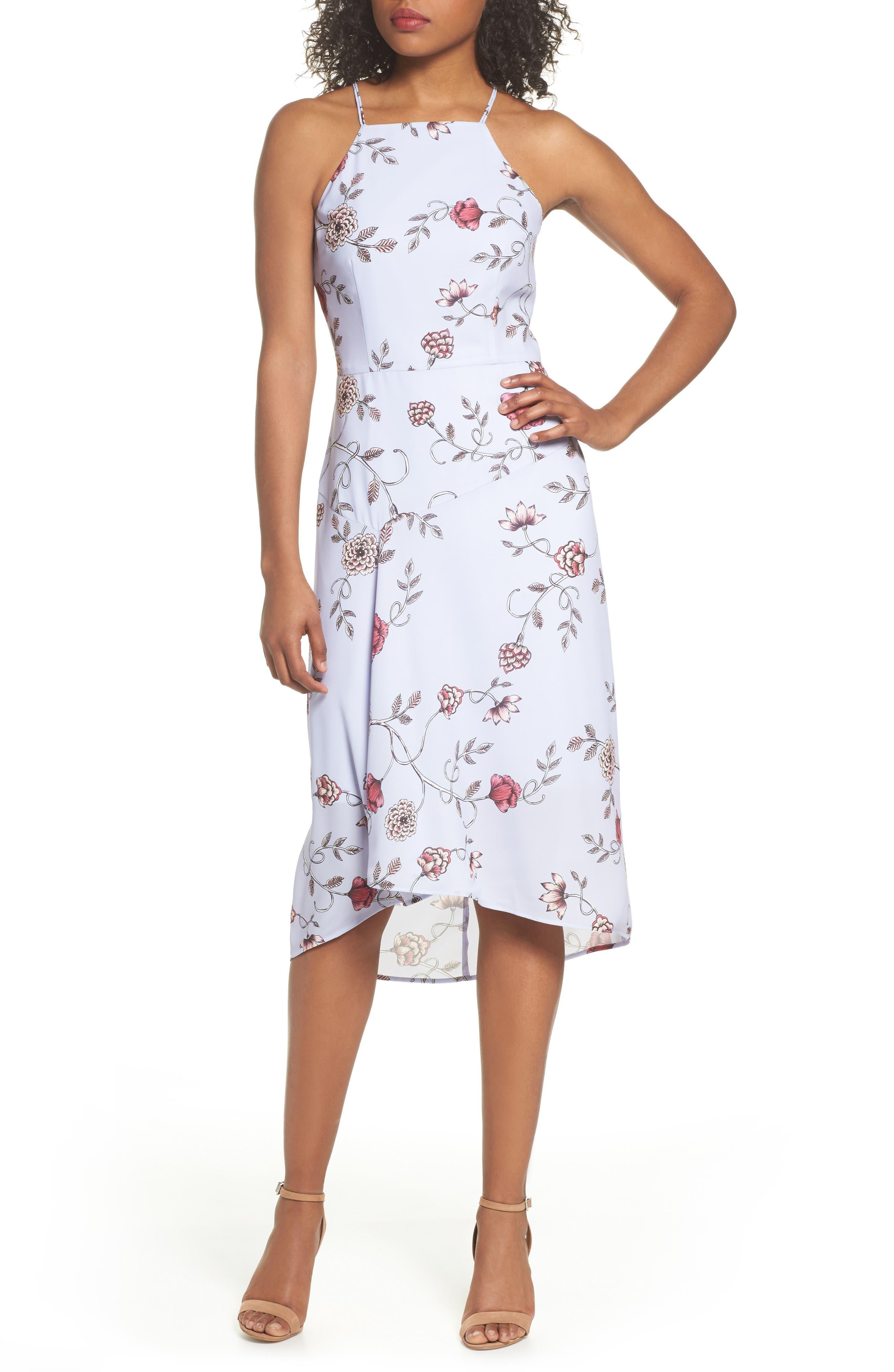 Floral High/Low Midi Dress,                             Main thumbnail 1, color,                             510