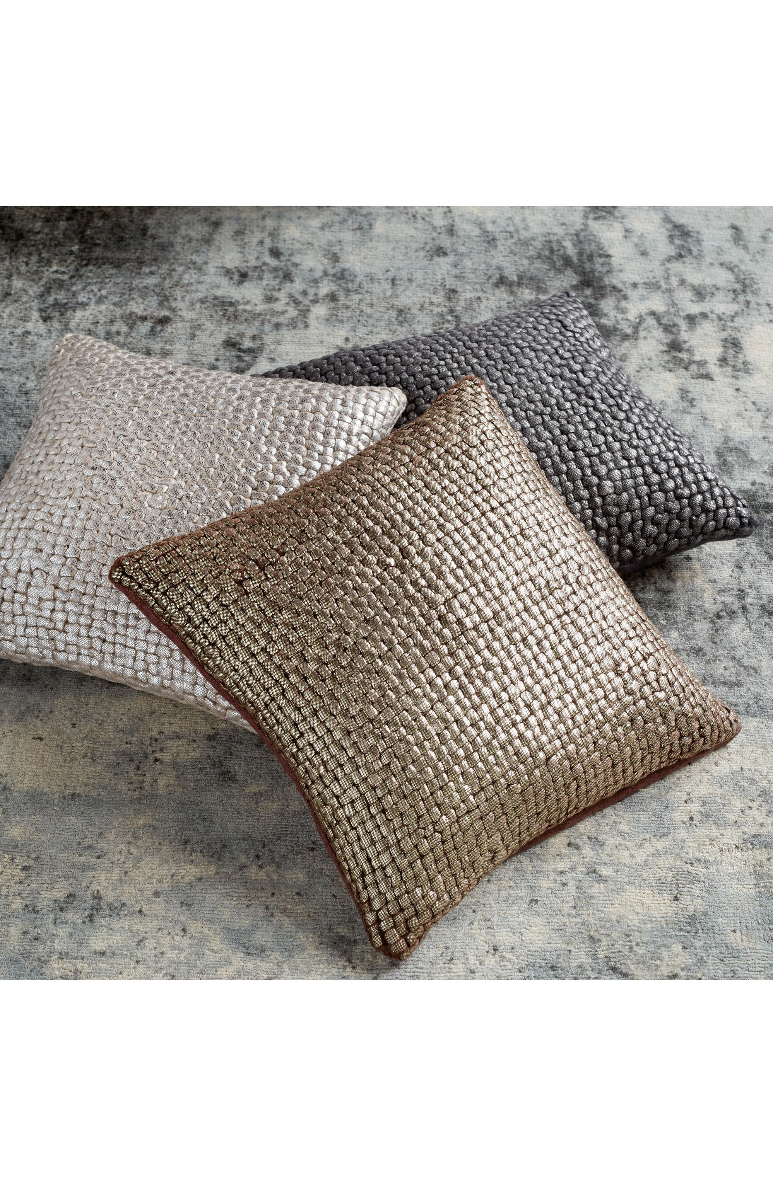 MICHAEL ARAM,                             Metallic Basket Weave Accent Pillow,                             Alternate thumbnail 2, color,                             CHOCOLATE