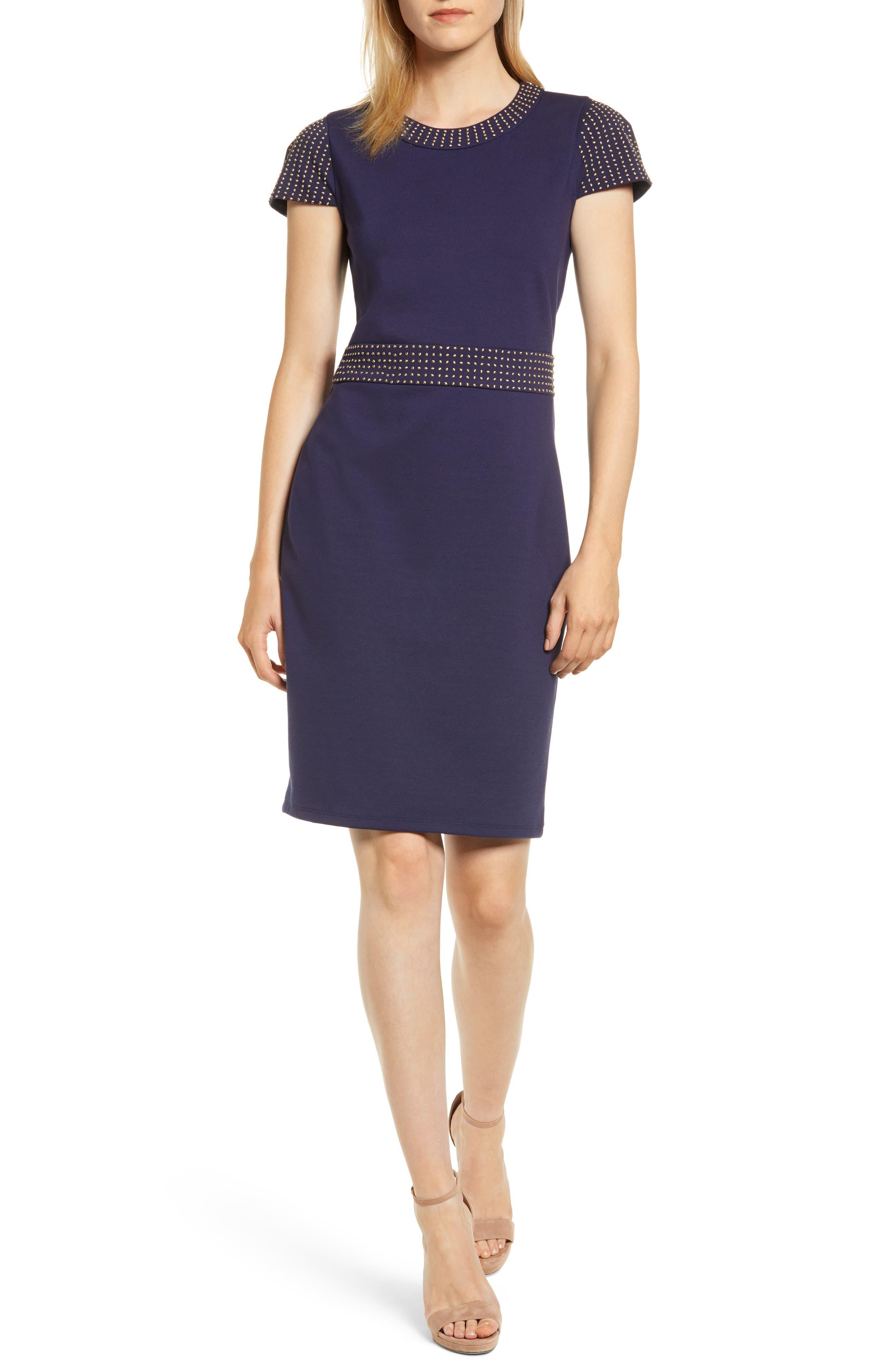 Michael Michael Kors Ponte Stud Sheath Dress, Blue