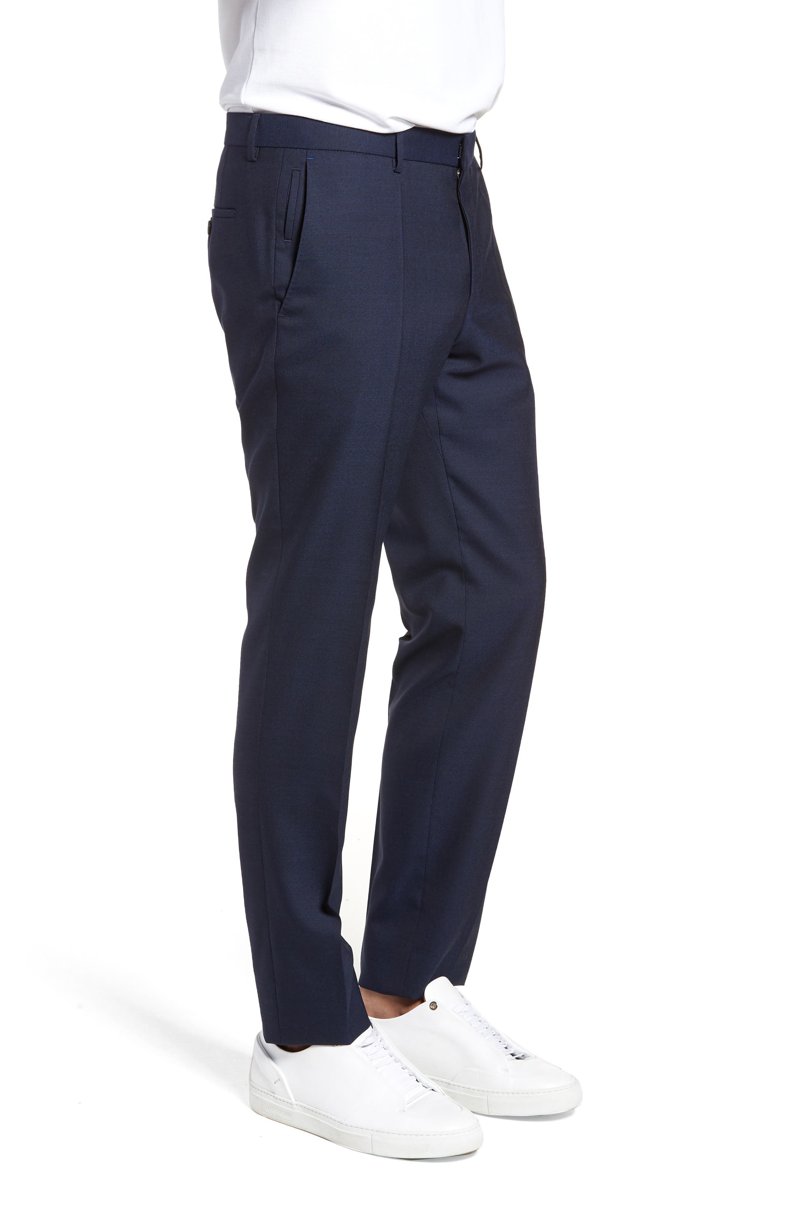 Nordstrom x BOSS Ben Flat Front Solid Wool Trousers,                             Alternate thumbnail 3, color,                             410