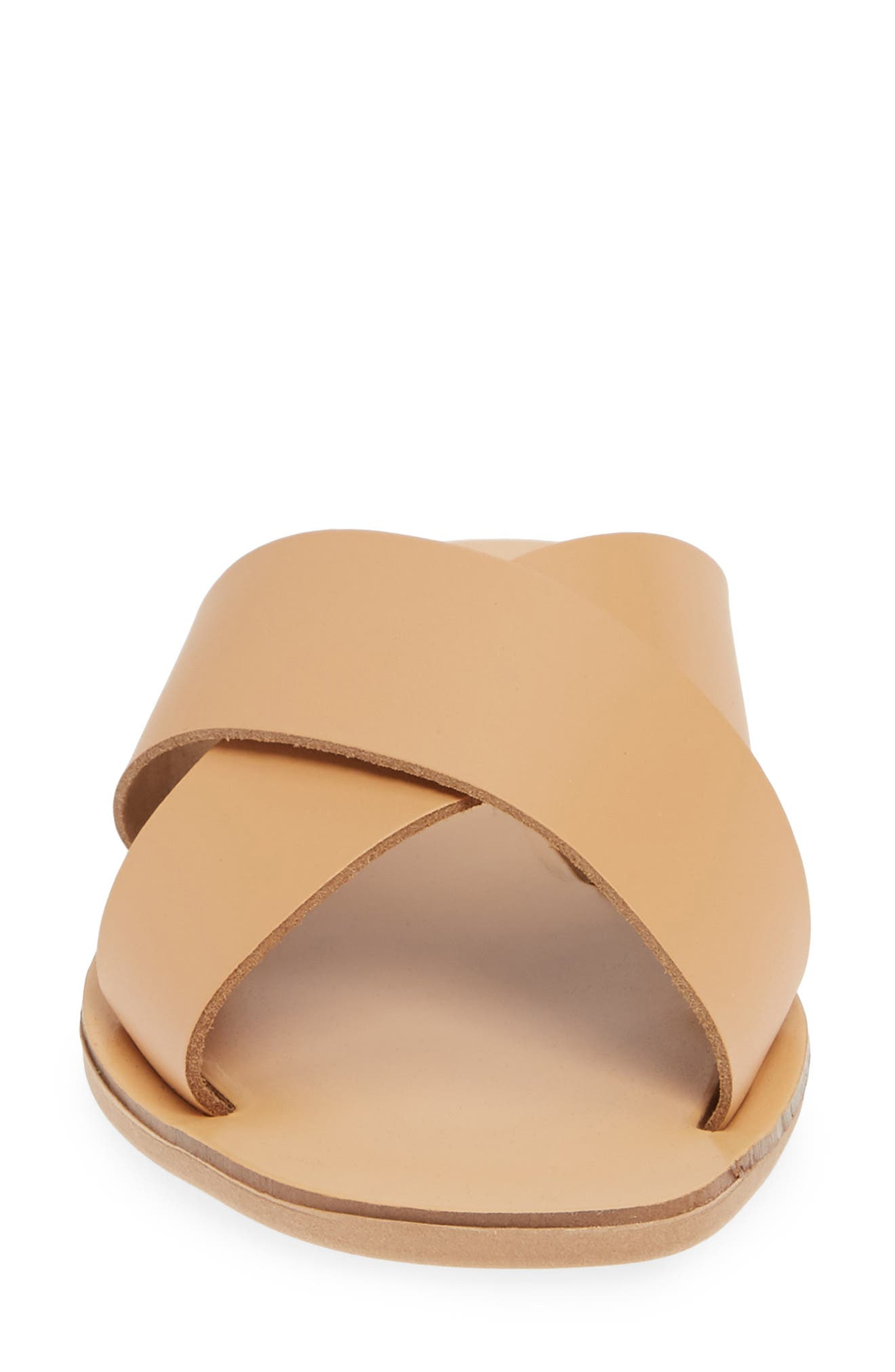 Total Relaxation Slide Sandal,                             Alternate thumbnail 4, color,                             BEIGE LEATHER