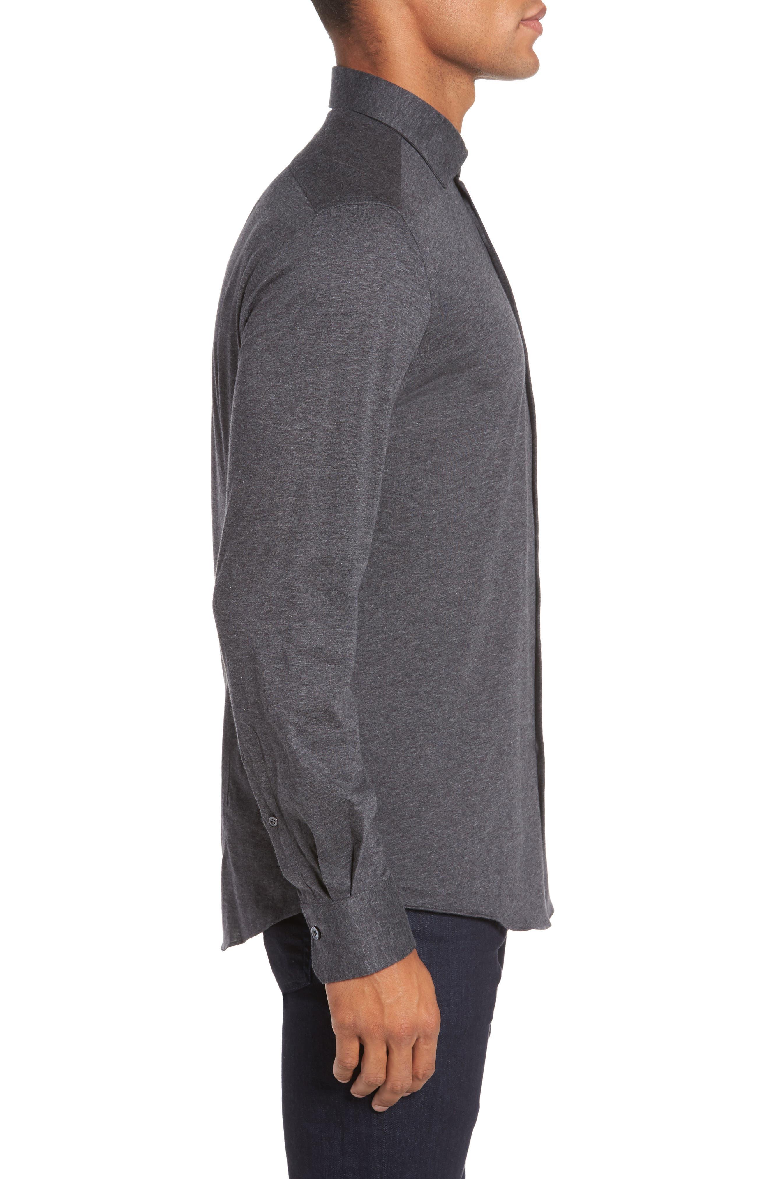 Slim Fit Jersey Sport Shirt,                             Alternate thumbnail 3, color,                             021