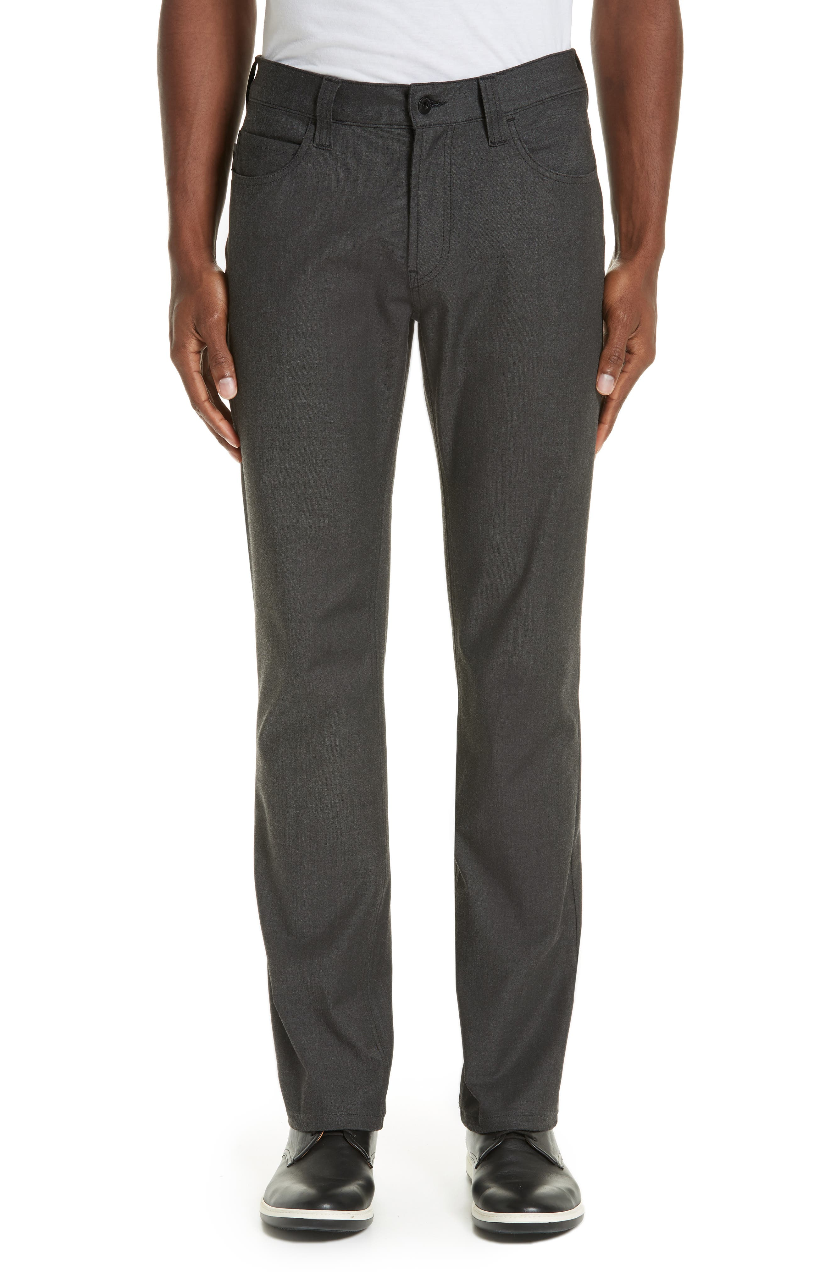 Flat Front Five Pocket Trousers, Main, color, CHARCOAL
