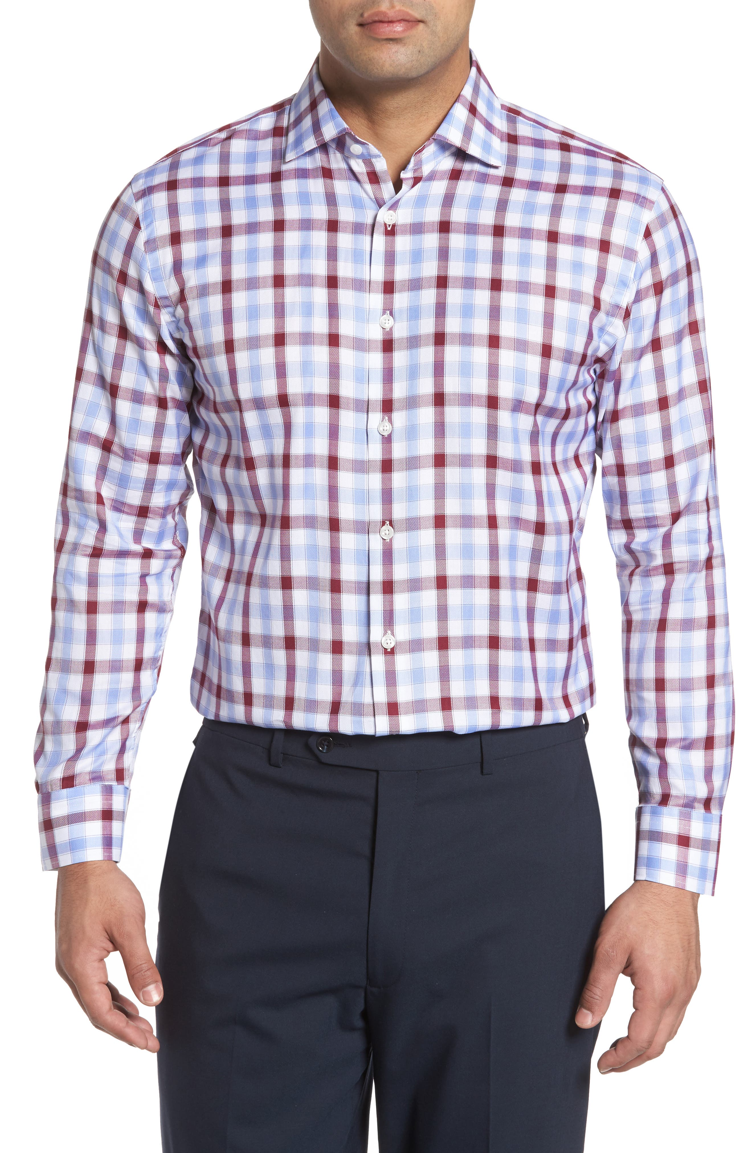 Trim Fit Plaid Dress Shirt,                             Main thumbnail 2, color,