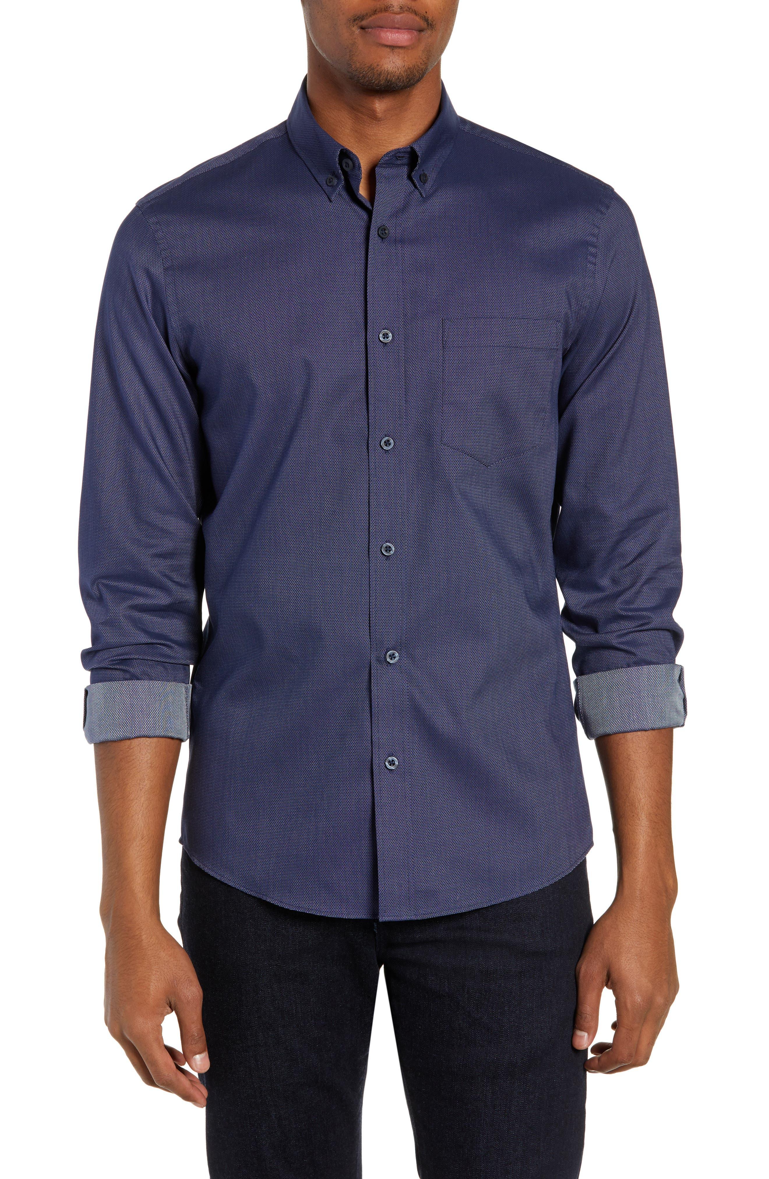 Nordstrom Shop Traditional Fit Sport Shirt, Blue