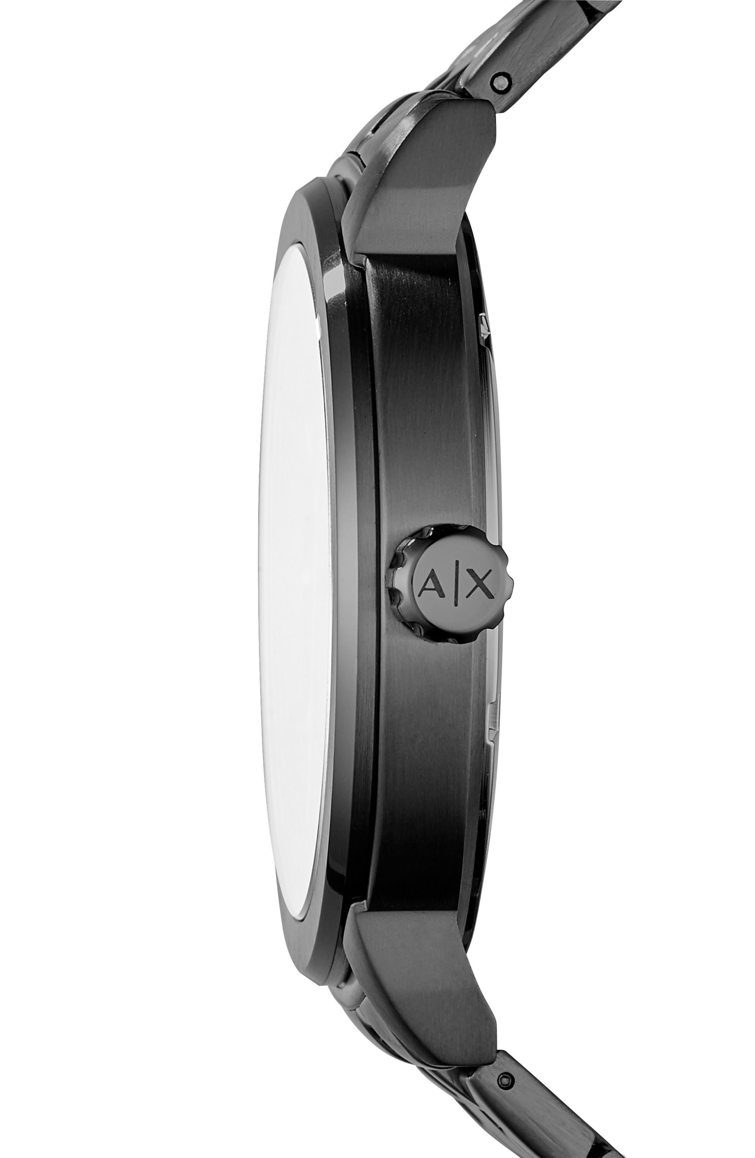 AX ARMANI EXCHANGE,                             Bracelet Strap Watch, 46mm,                             Alternate thumbnail 2, color,                             BLACK/ BLACK