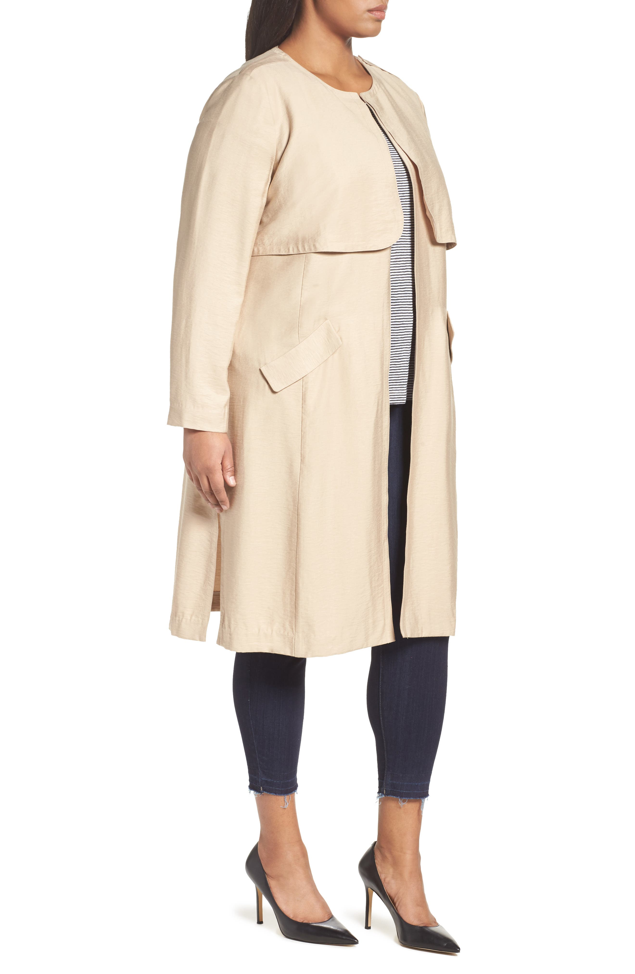 Long Open Front Trench Coat,                             Alternate thumbnail 10, color,