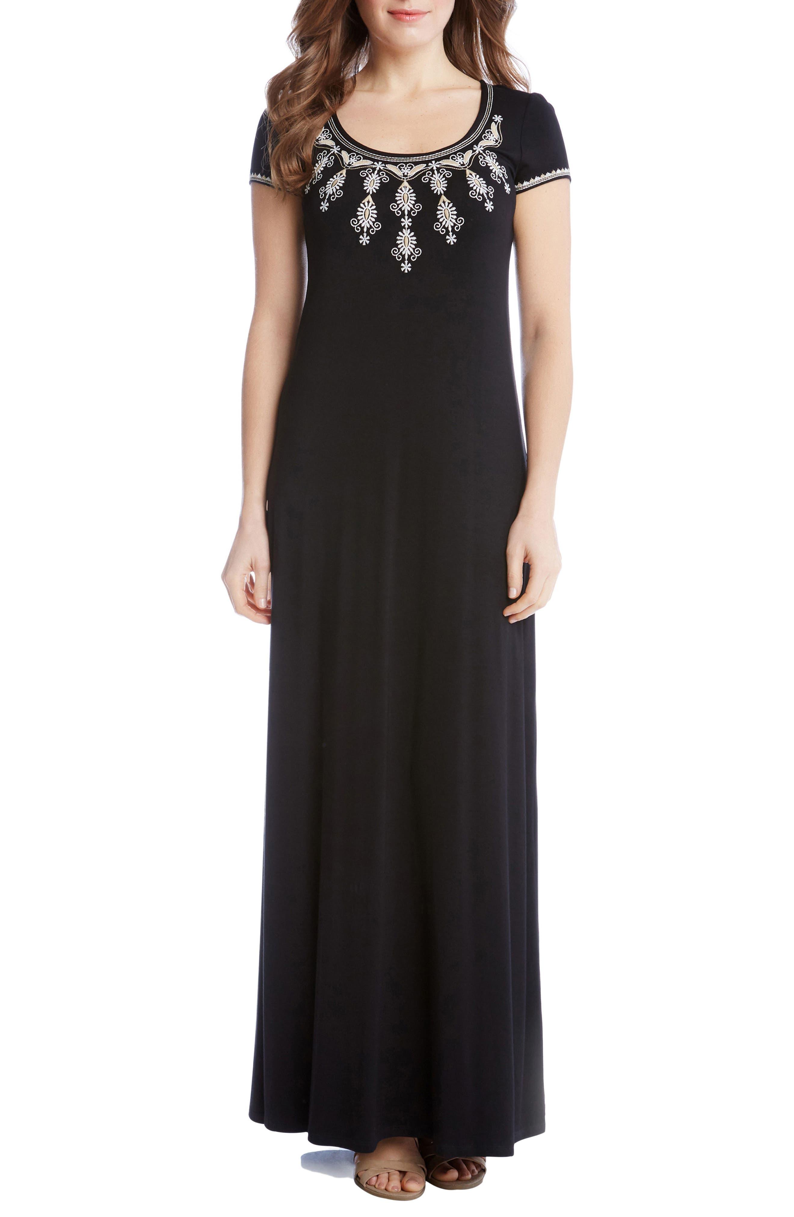 Embroidered Cap Sleeve Maxi Dress,                             Main thumbnail 1, color,                             001