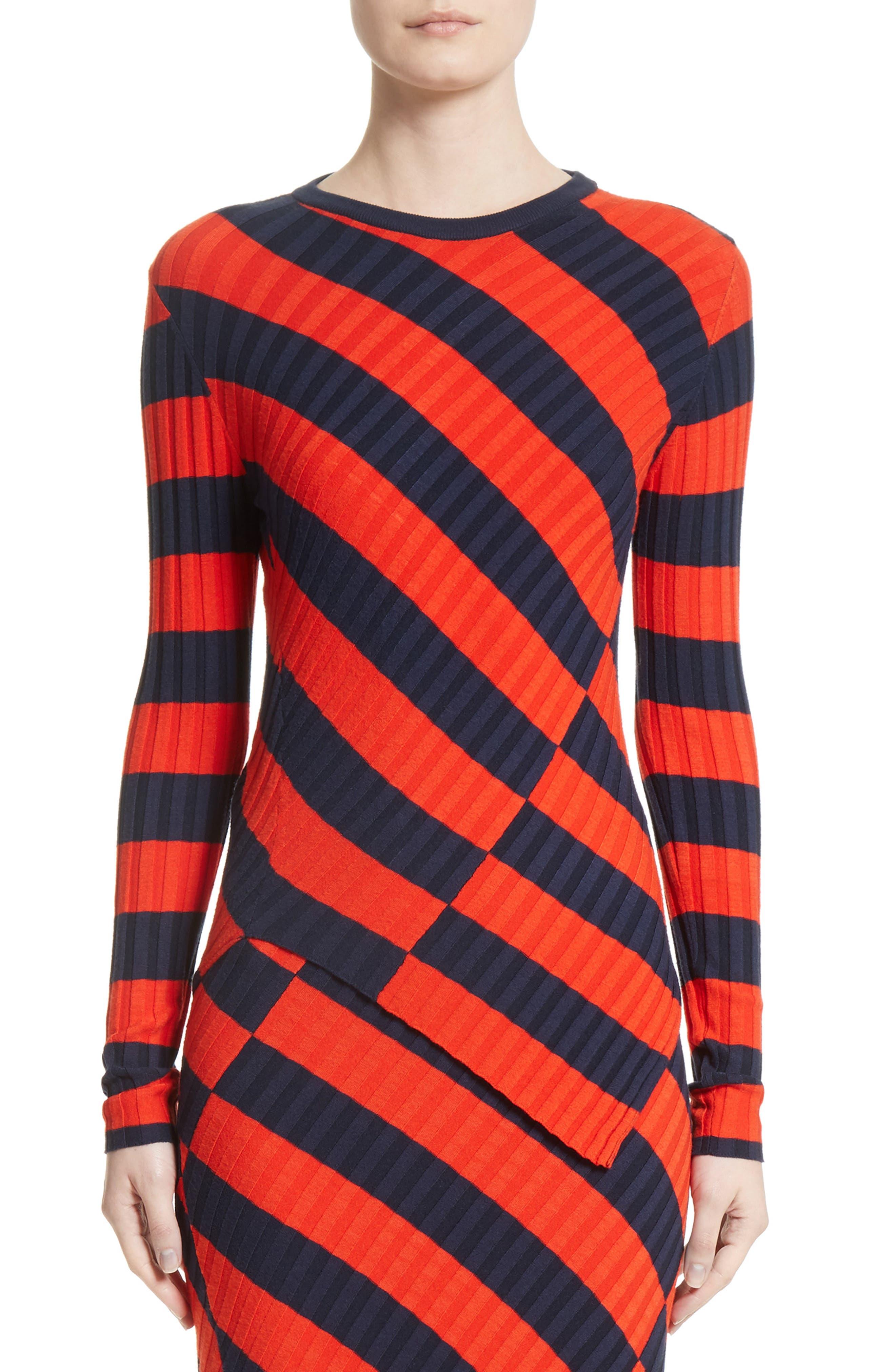 Asymmetrical Stripe Sweater,                             Main thumbnail 1, color,                             830