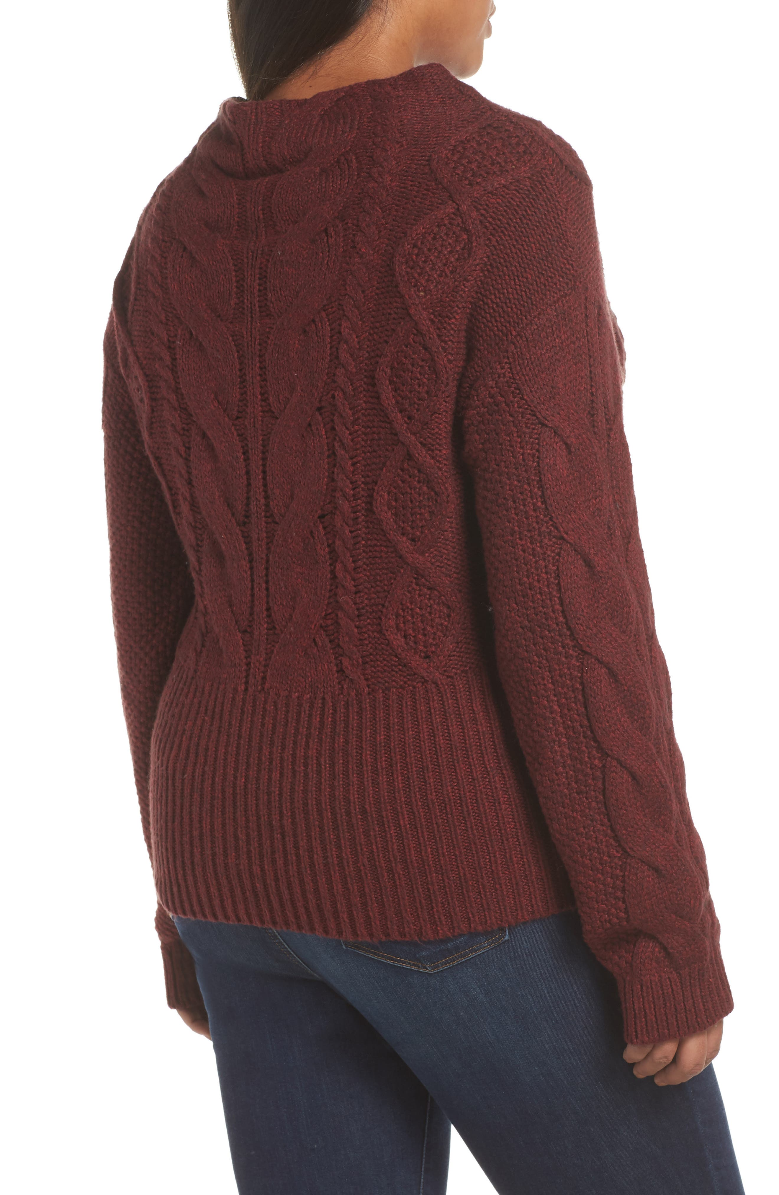 Cotton Blend Cable Knit Sweater,                             Alternate thumbnail 4, color,                             MANOR RED