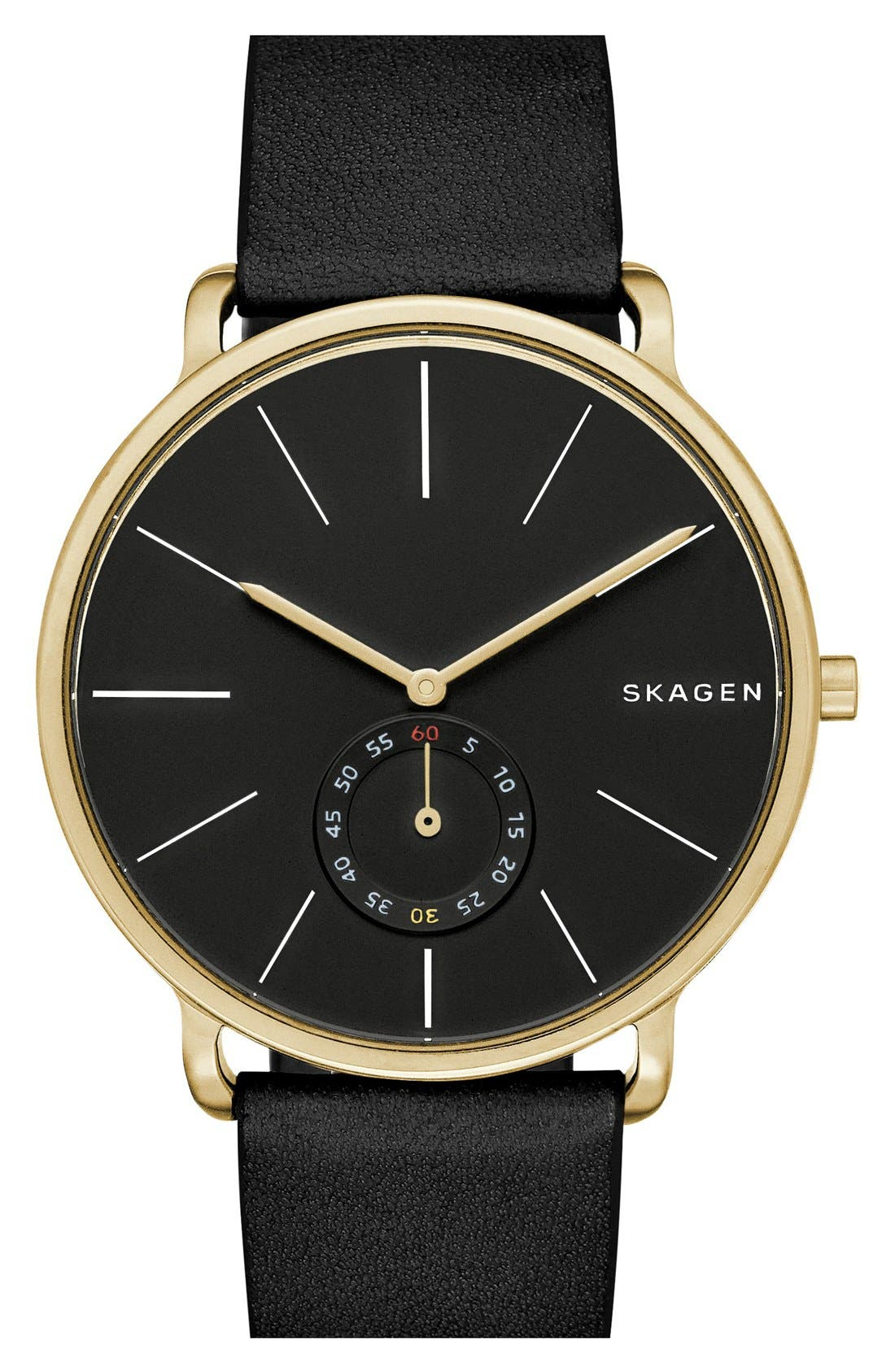 Hagen Leather Strap Watch, 40mm,                             Main thumbnail 1, color,                             001