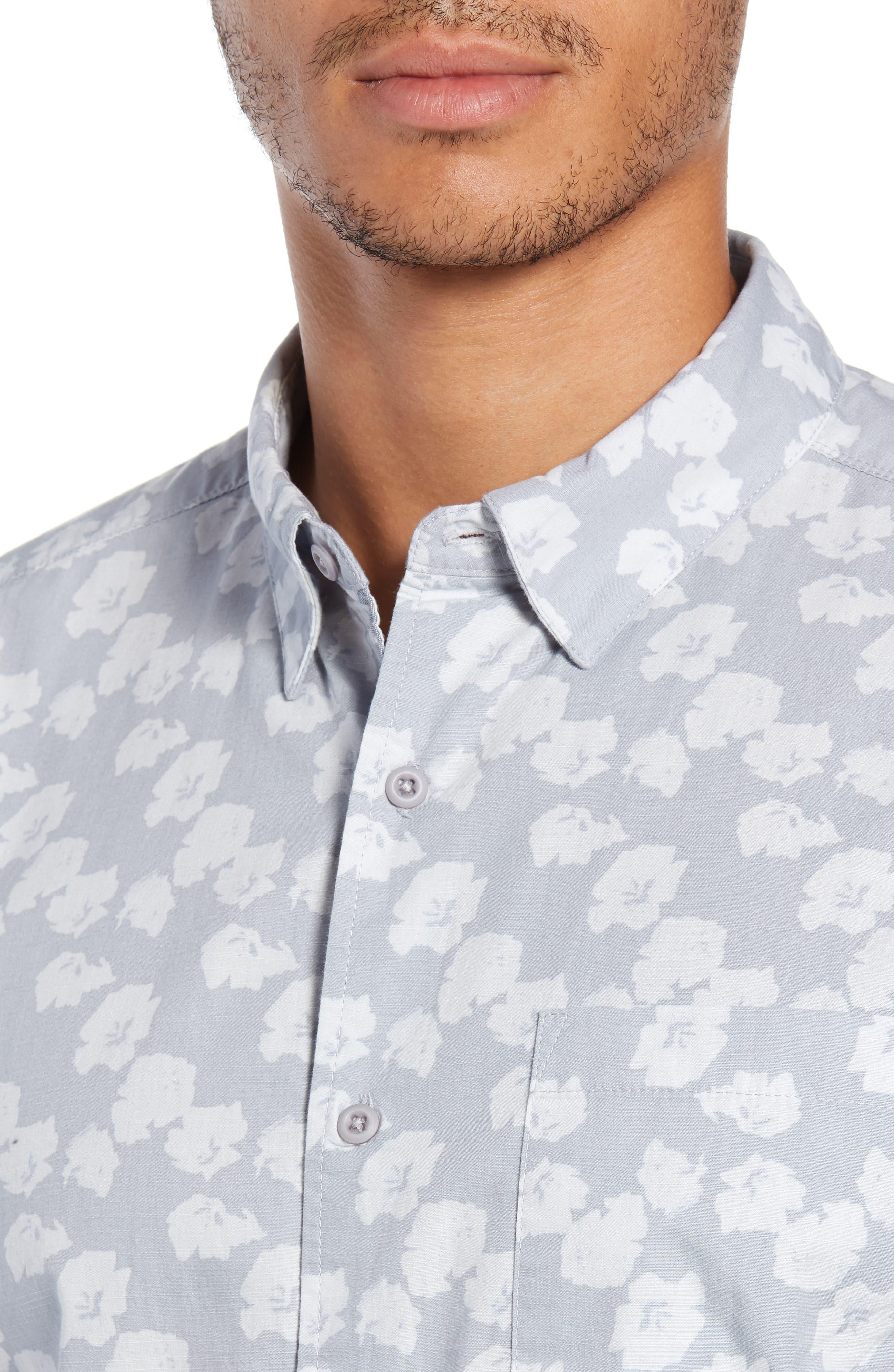 Beachside Swarm Print Woven Shirt,                             Alternate thumbnail 2, color,                             WOLF GREY