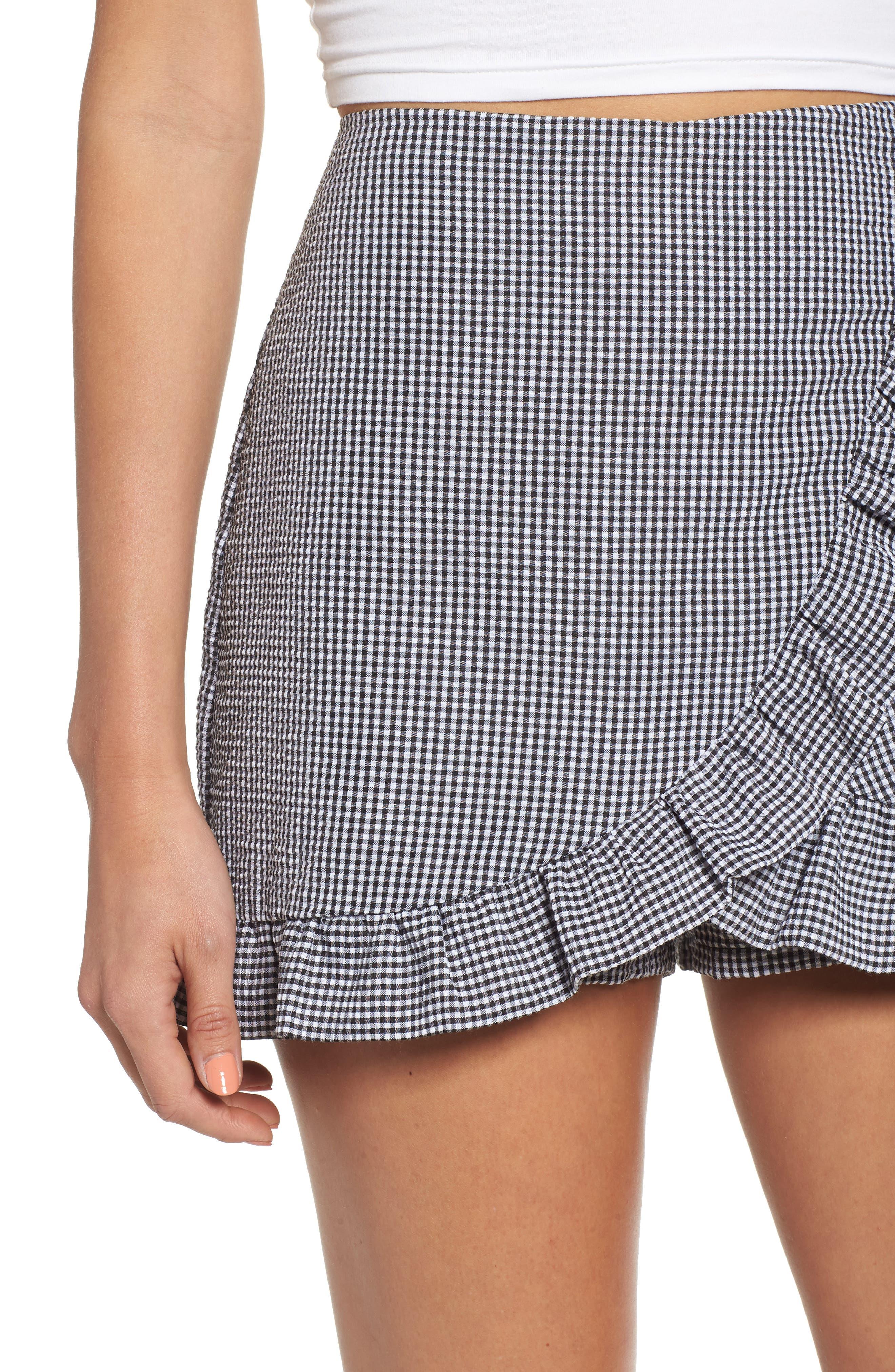 Ruffle Trim Gingham Skirt,                             Alternate thumbnail 4, color,                             001