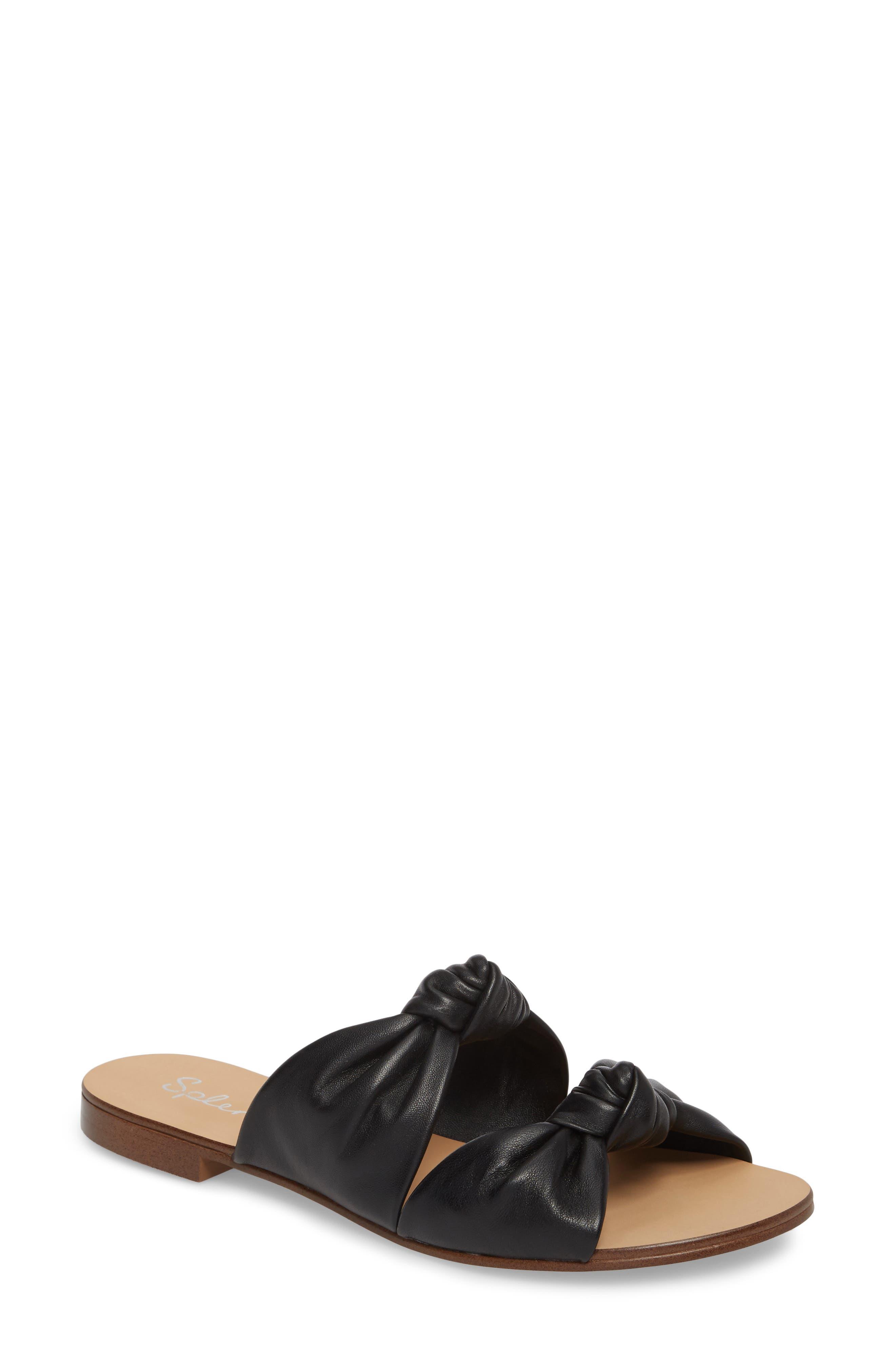 Barton Double Knotted Slide Sandal,                         Main,                         color, BLACK LEATHER