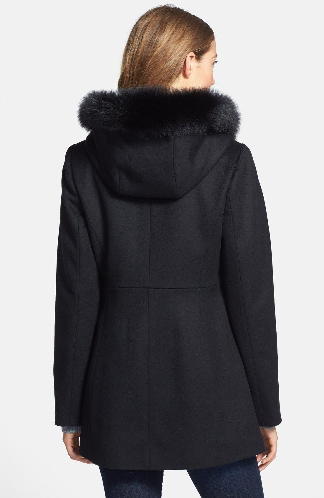 Genuine Fox Fur Trim Hooded Wool Blend Coat,                             Alternate thumbnail 8, color,                             001