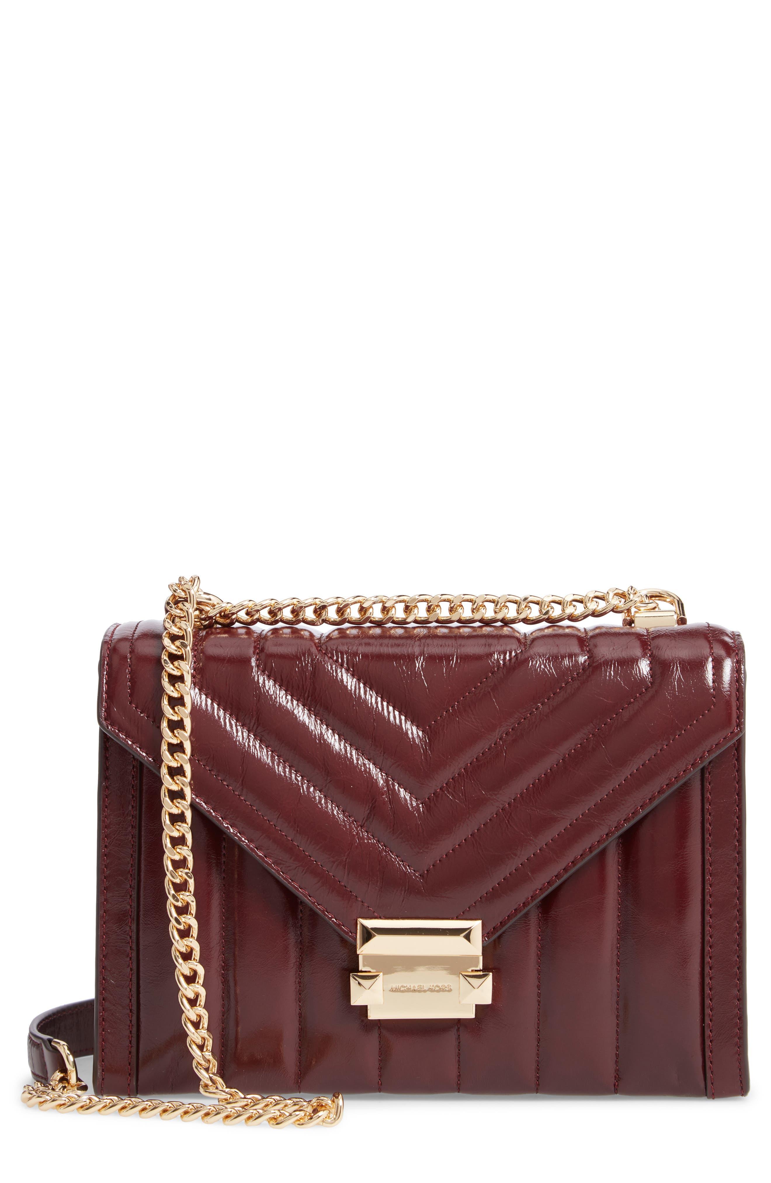 Large Quilted Leather Shoulder Bag - Burgundy in Oxblood