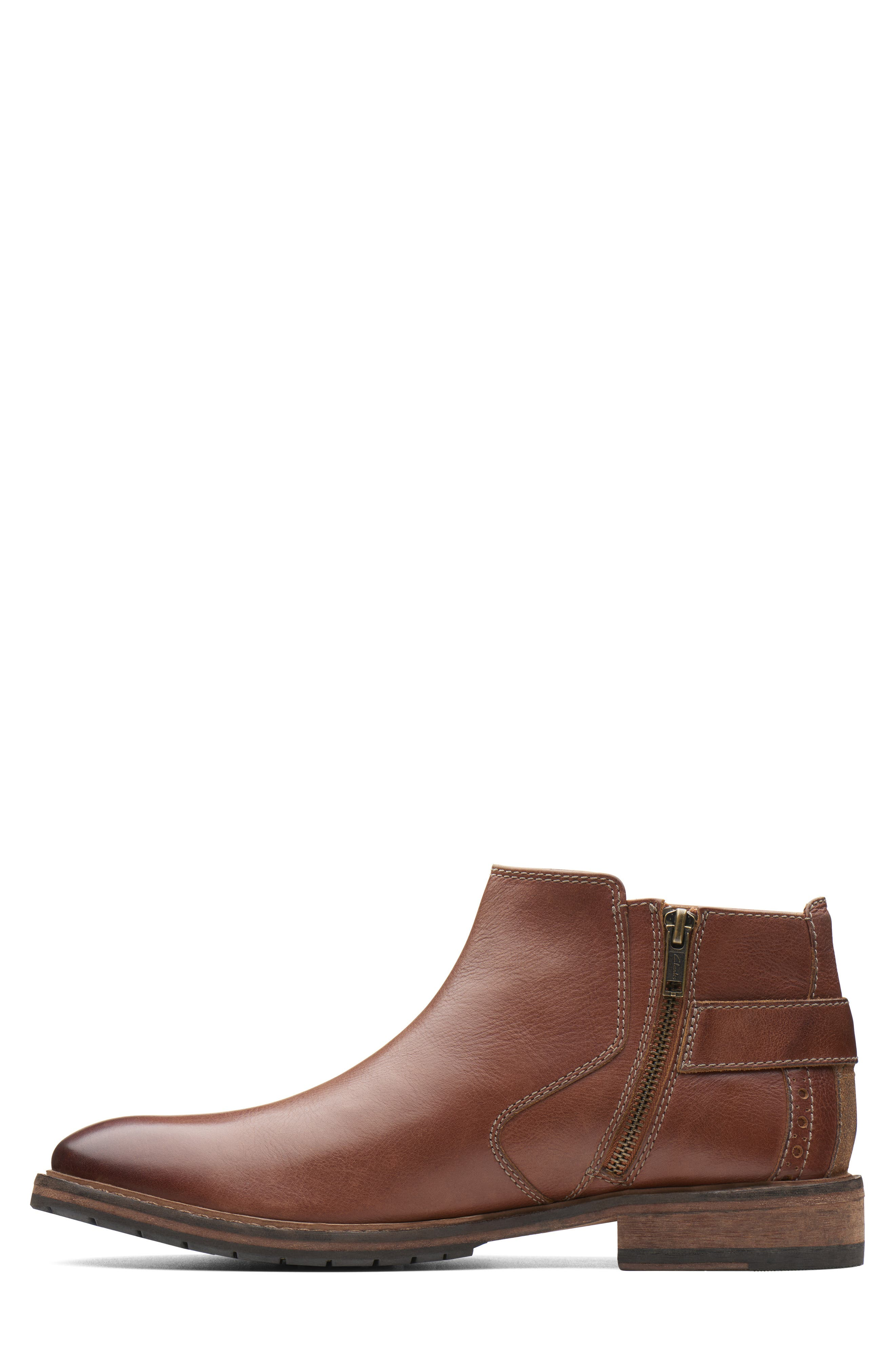 Clarkdale Remi Ankle Boot,                             Alternate thumbnail 7, color,                             DARK TAN LEATHER