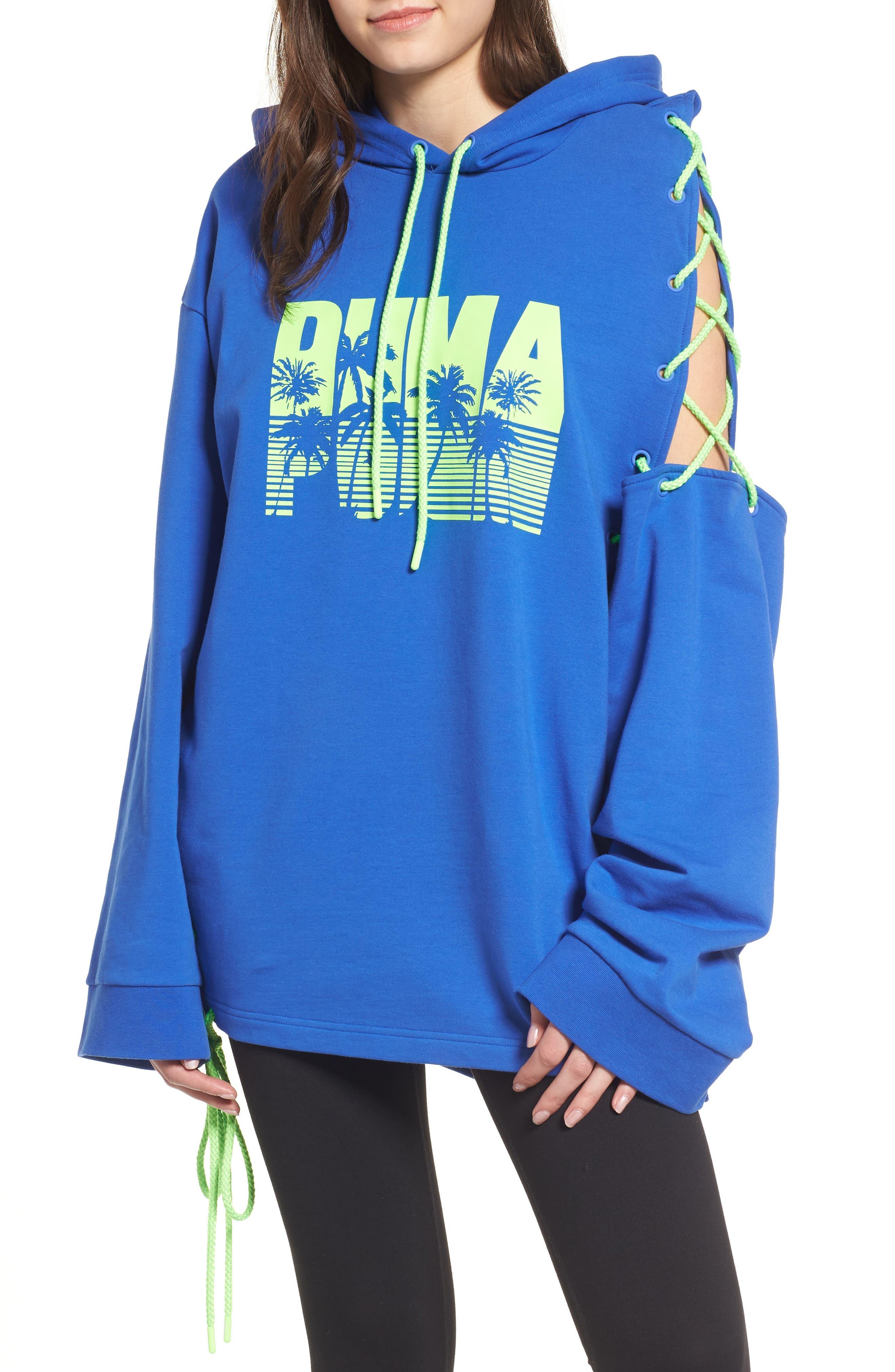 FENTY PUMA by Rihanna Side Lace-Up Hoodie,                         Main,                         color, 400