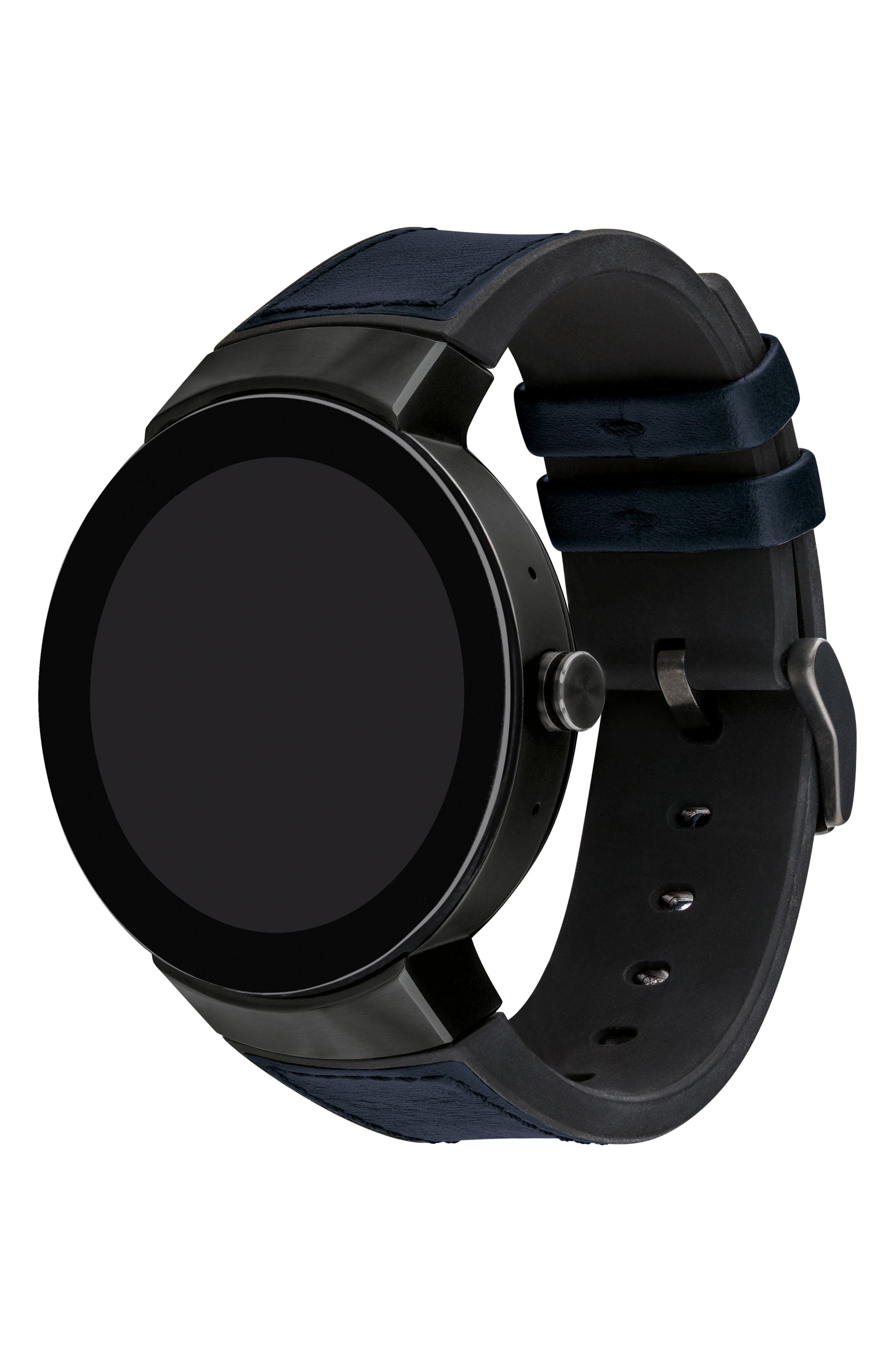 Connect Silicone & Leather Strap Smart Watch, 44mm,                             Alternate thumbnail 3, color,                             NAVY/ BLACK/ GUNMETAL