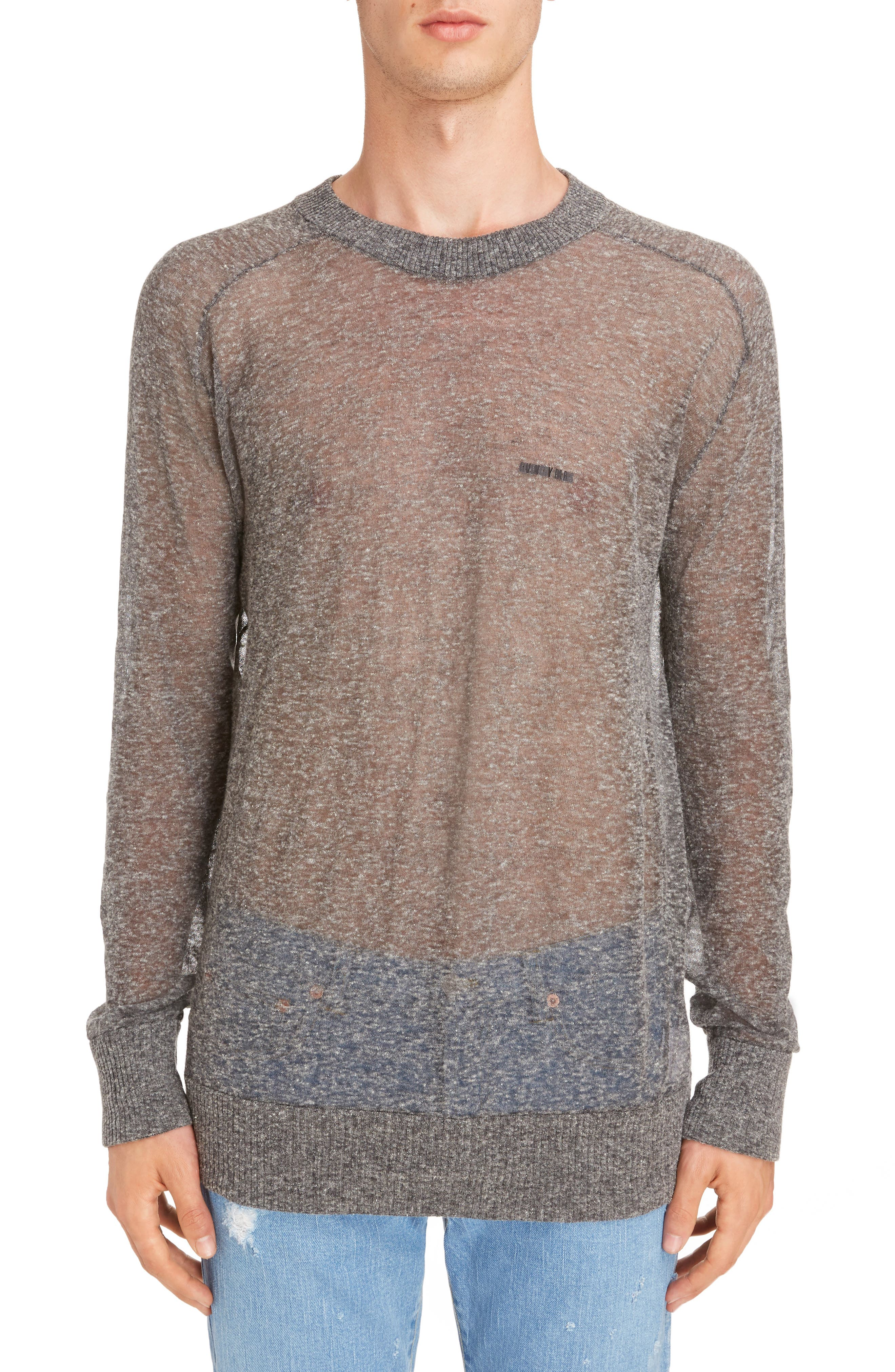 Technical Linen Blend Crewneck Sweater,                             Main thumbnail 1, color,                             020
