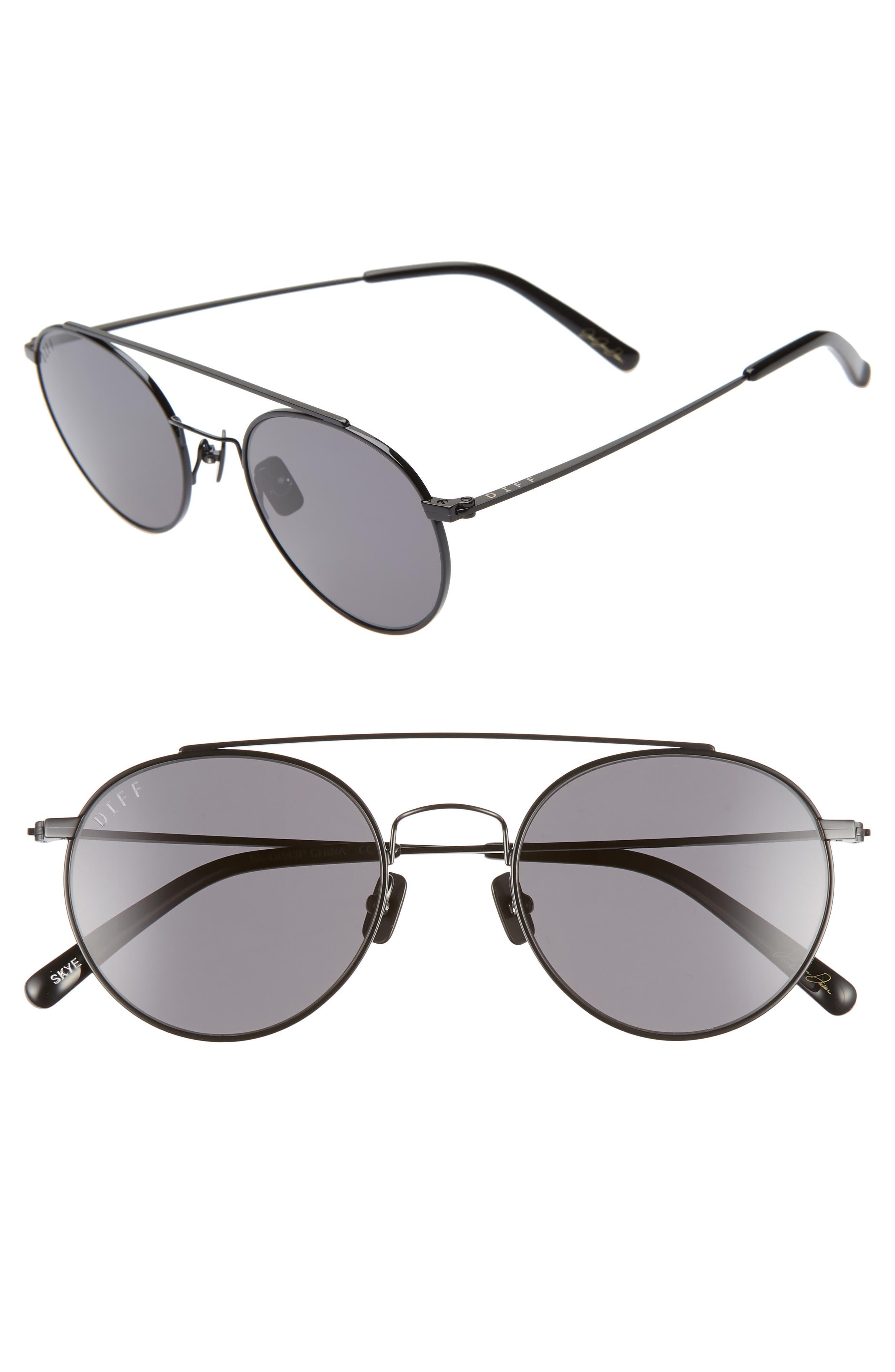 x Jessie James Decker Skye 52mm Polarized Round Sunglasses,                         Main,                         color, BLACK/ GREY