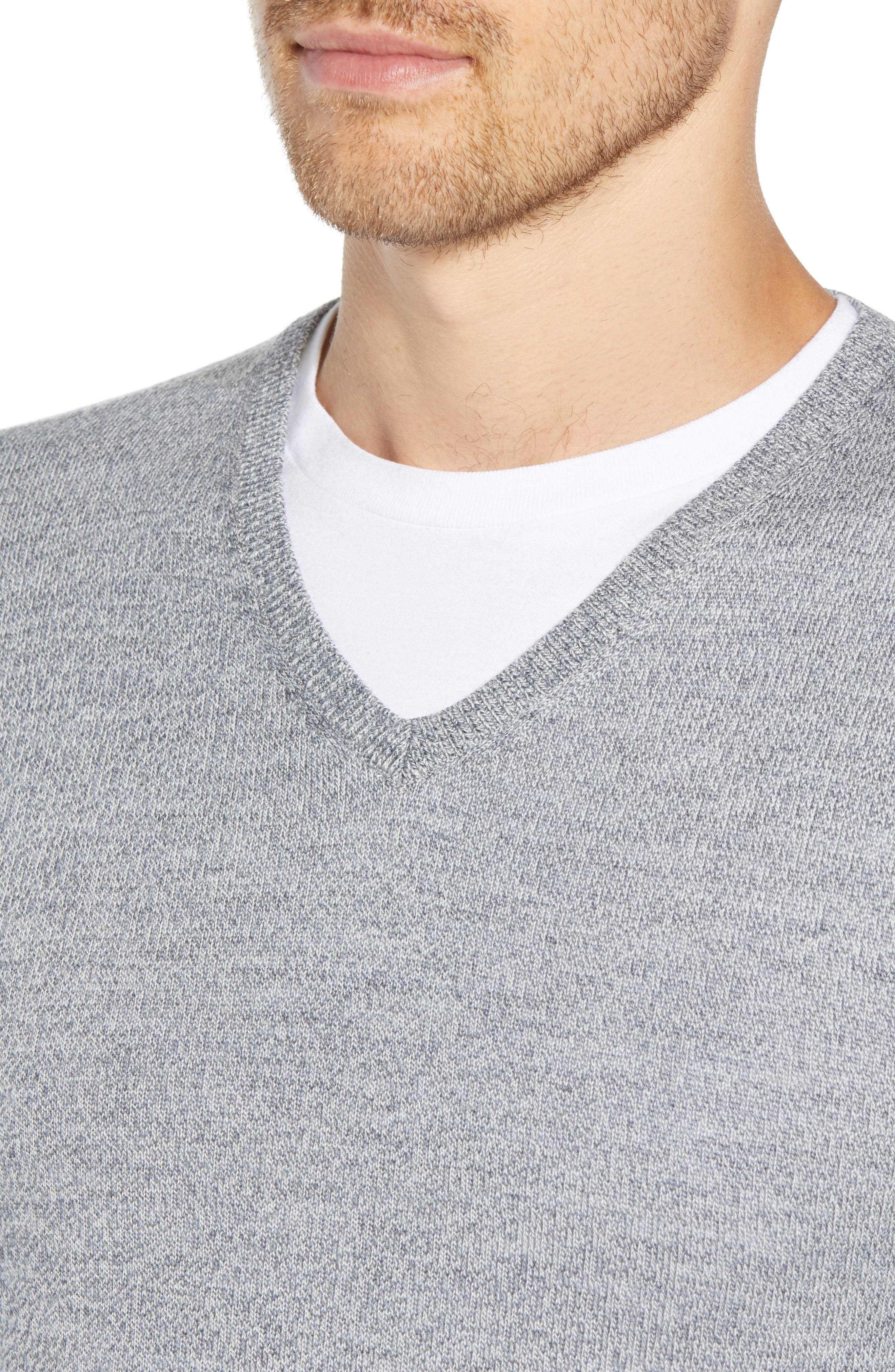 Slim Fit V-Neck Merino Wool Sweater,                             Alternate thumbnail 4, color,                             020